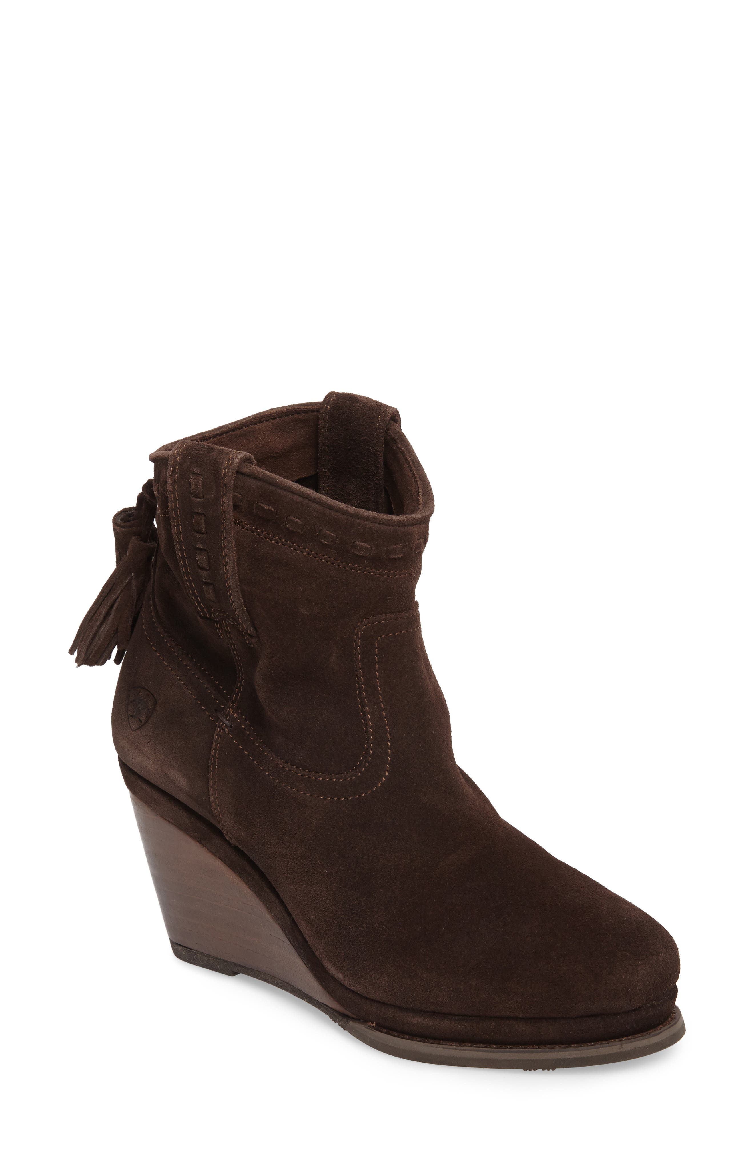 Broadway Western Wedge Boot,                         Main,                         color, Dark Brown Suede
