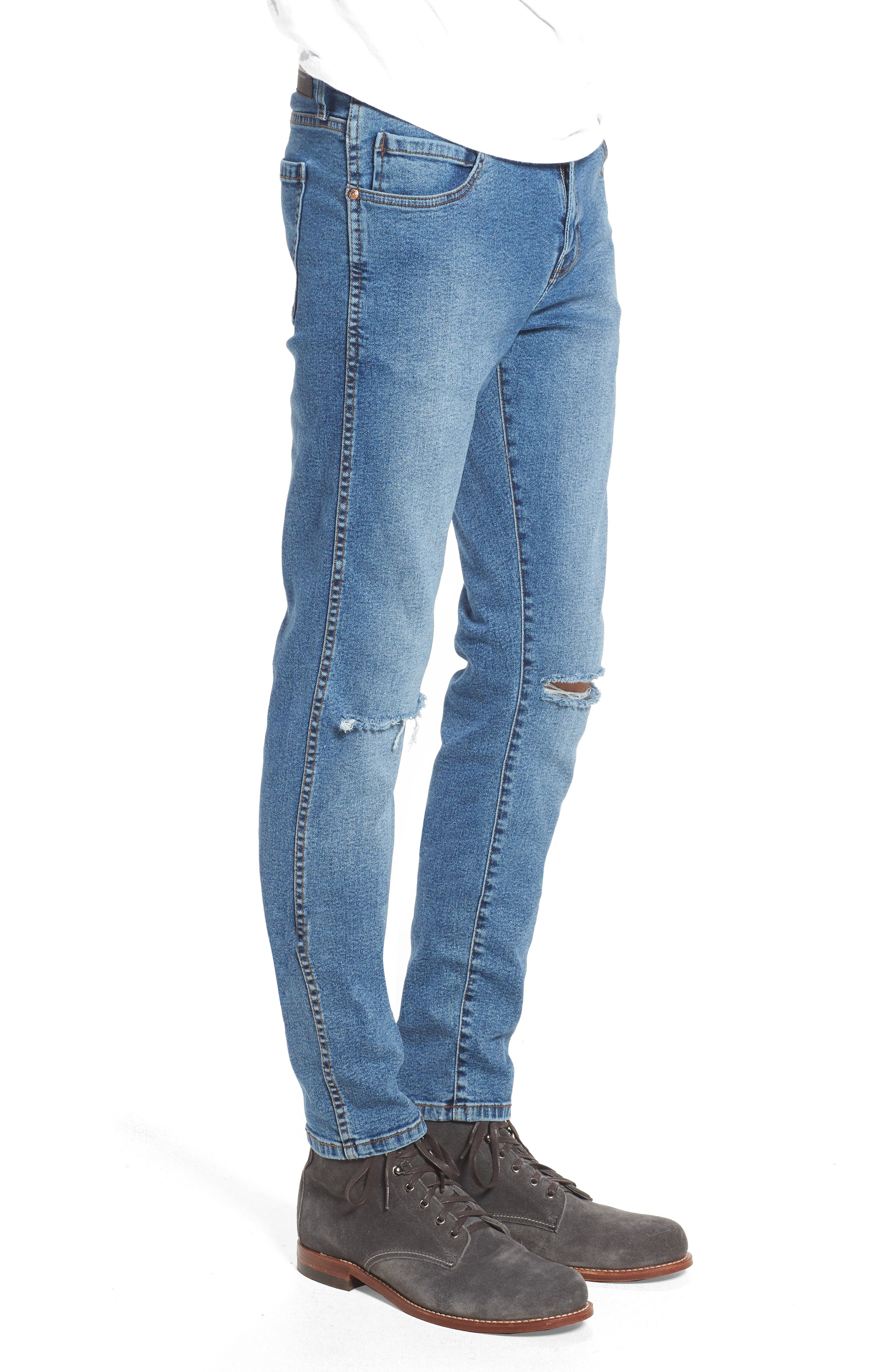 Snap Skinny Fit Jeans,                             Alternate thumbnail 3, color,                             Light Stone Destroyed