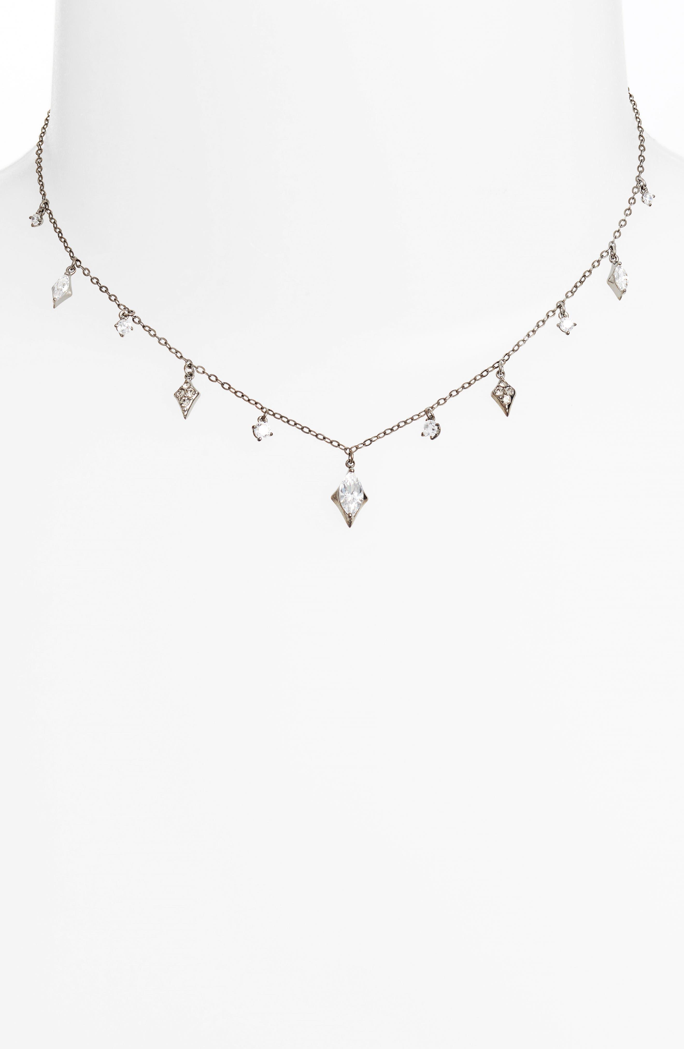 Nadri Noel Cubic Zirconia Dangling Choker Necklace