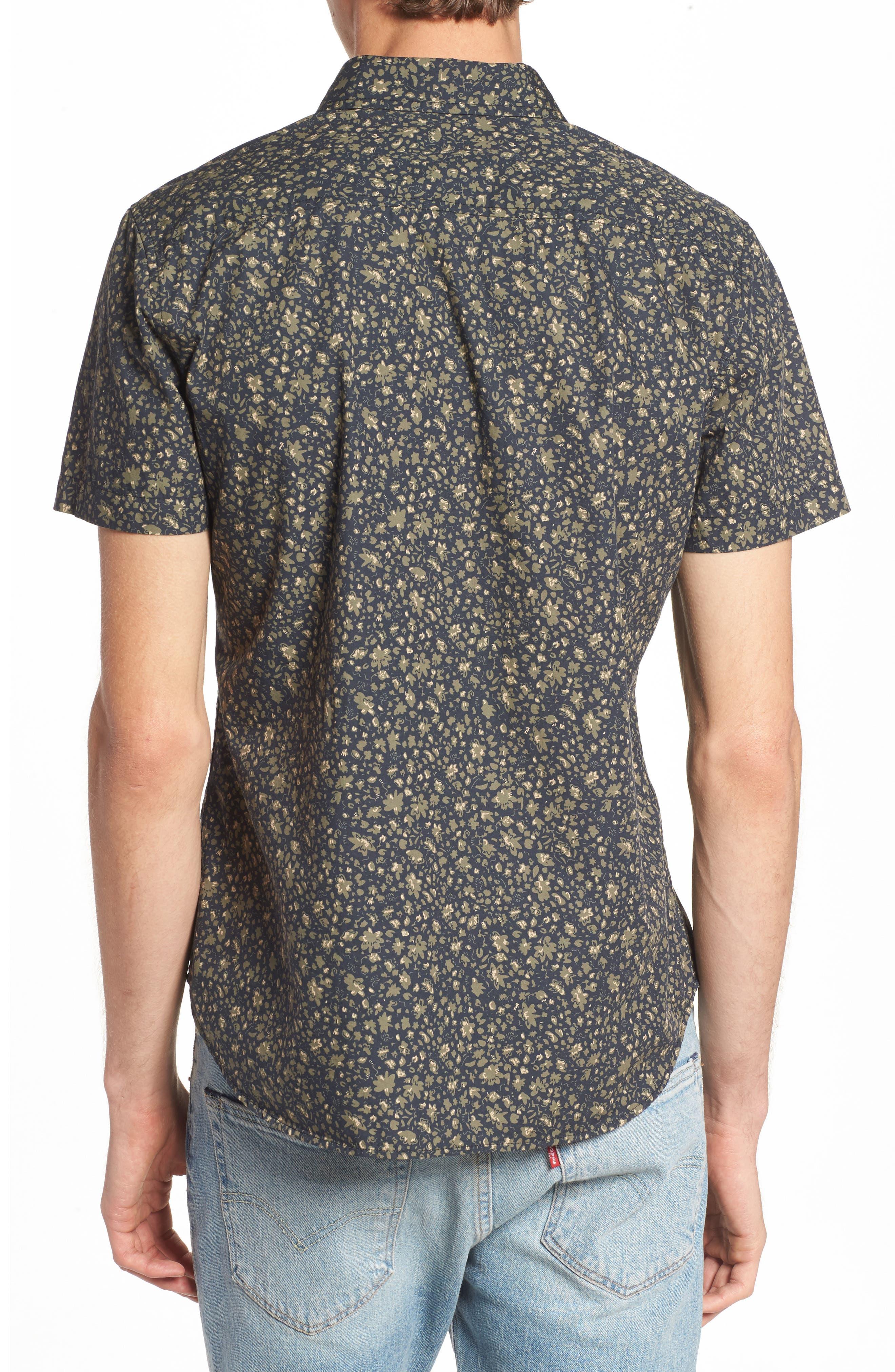 Nash Slim Fit Print Sport Shirt,                             Alternate thumbnail 2, color,                             Floral Camo Black/ Ivy