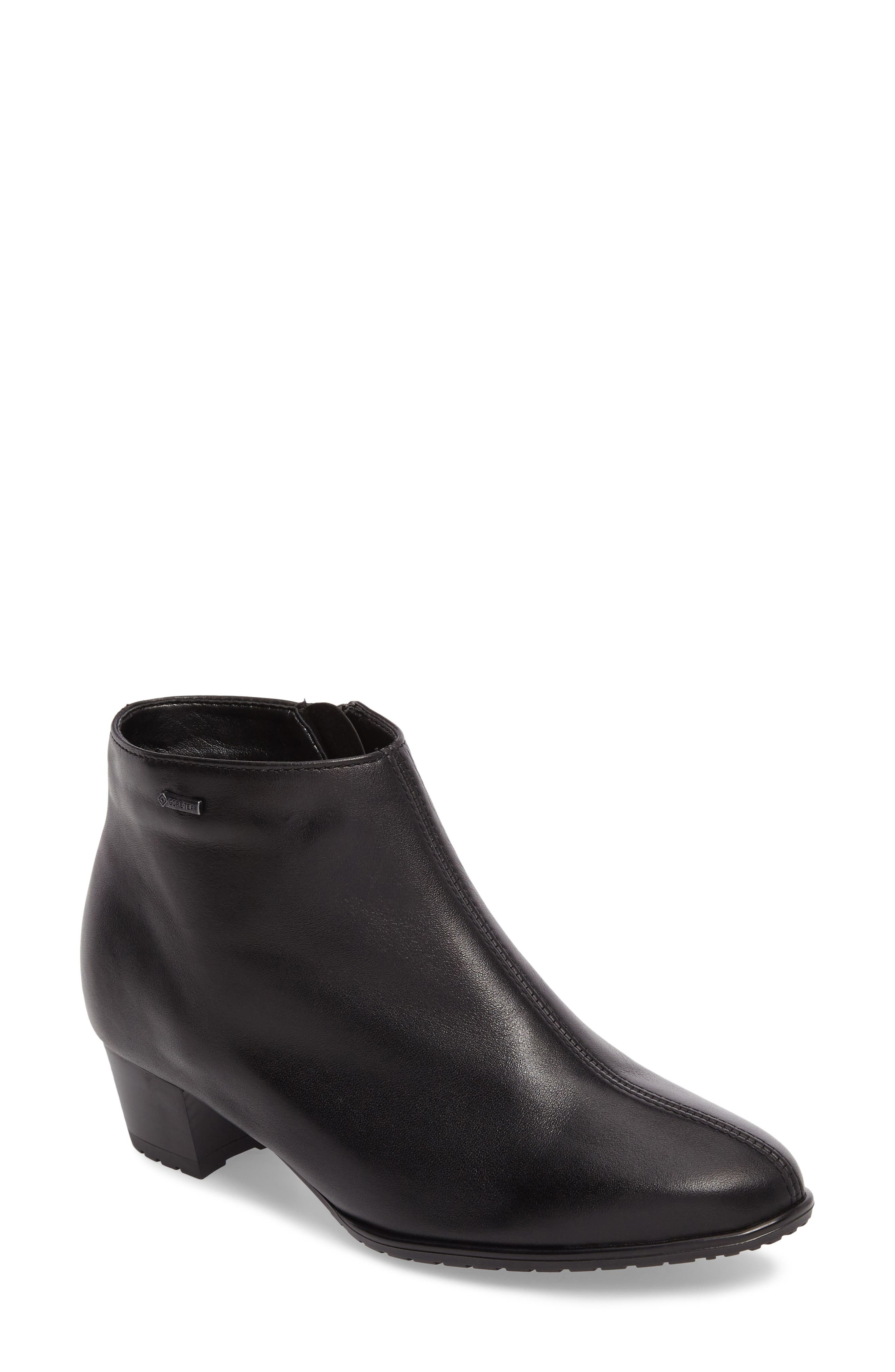 Prisha Waterproof Gore-Tex<sup>®</sup> Bootie,                             Main thumbnail 1, color,                             Black Leather