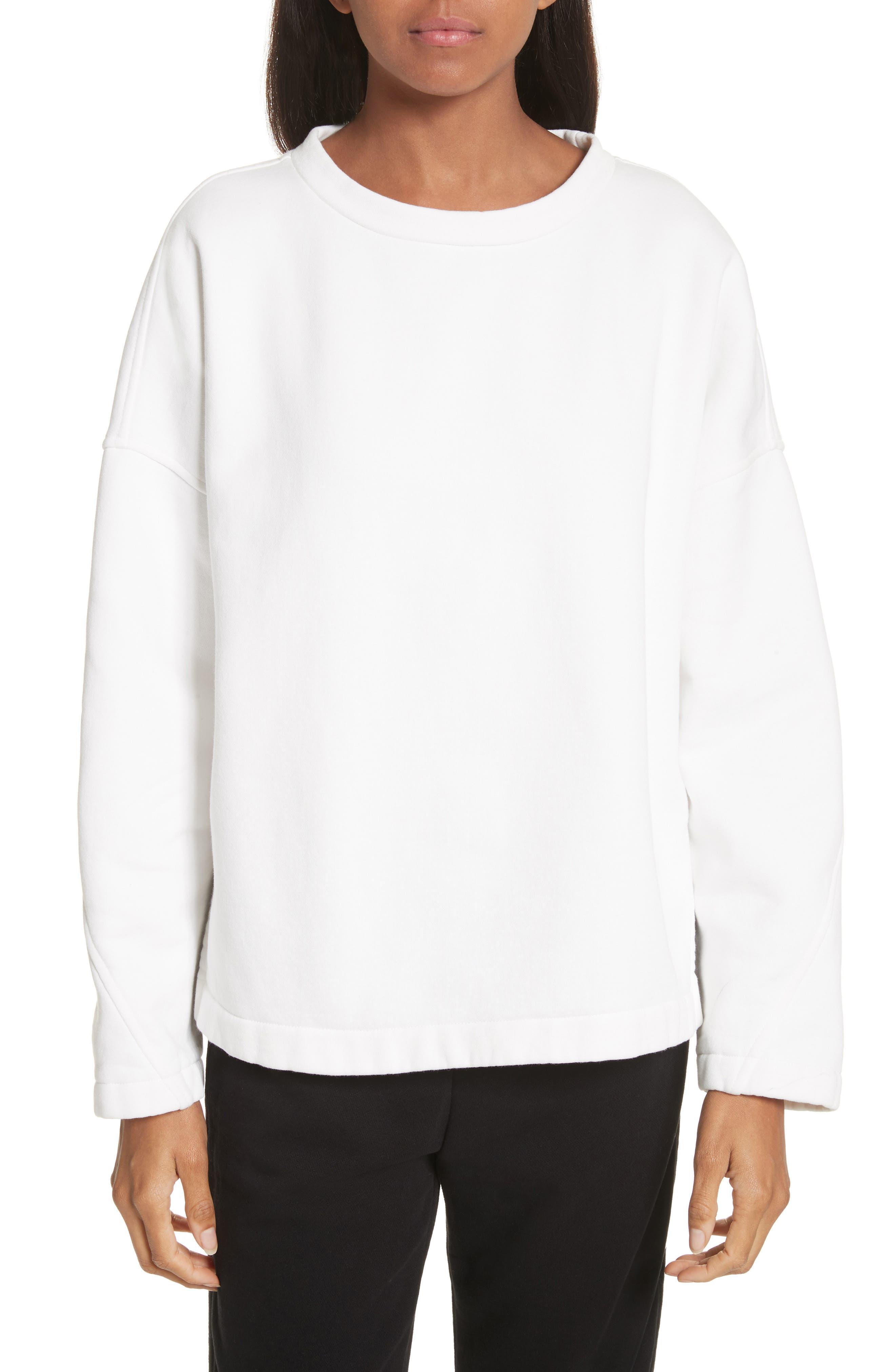 Mock Neck Sweatshirt,                         Main,                         color, Vanilla