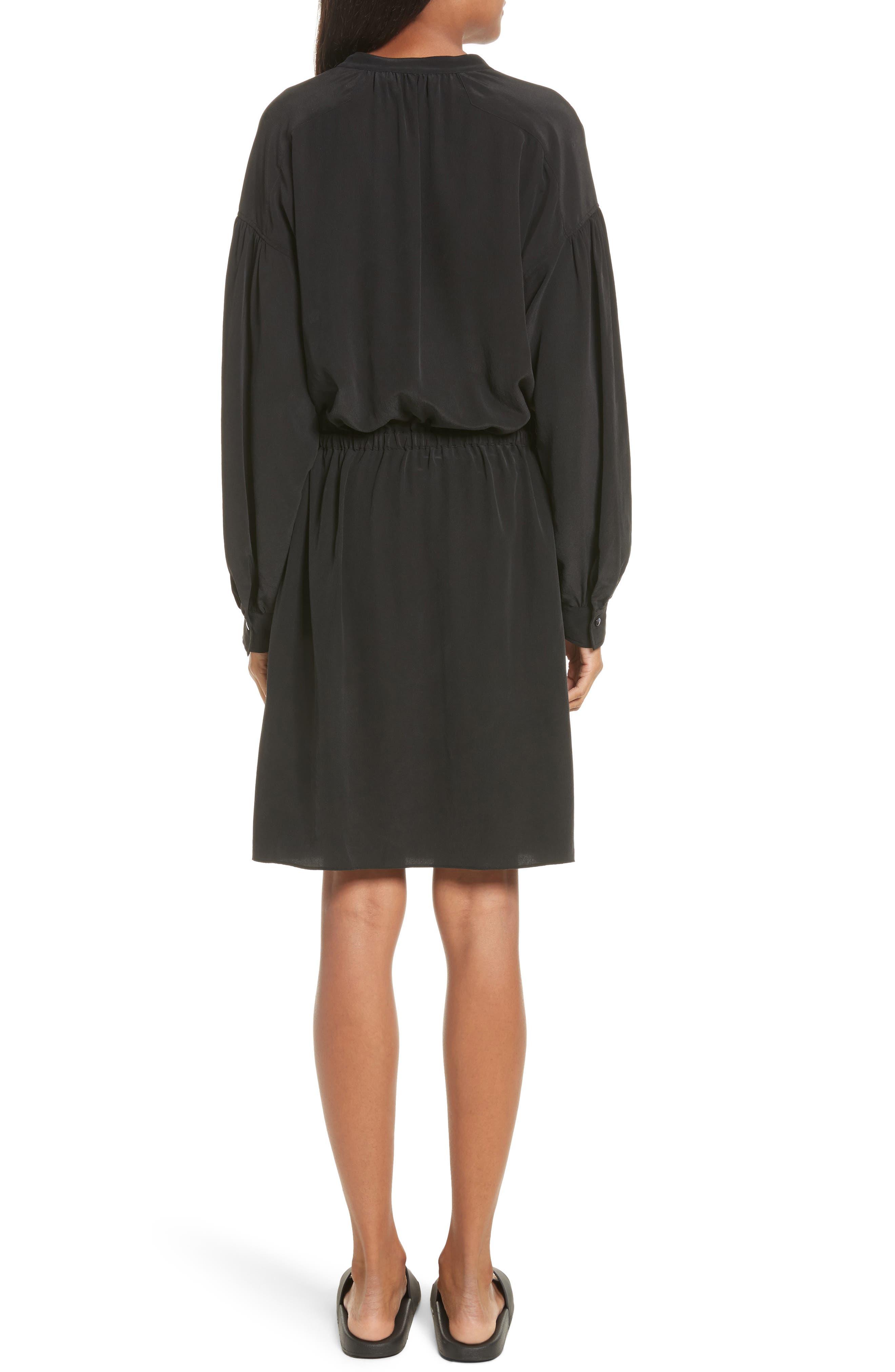 Shirred Sleeve Silk Dress,                             Alternate thumbnail 2, color,                             Black