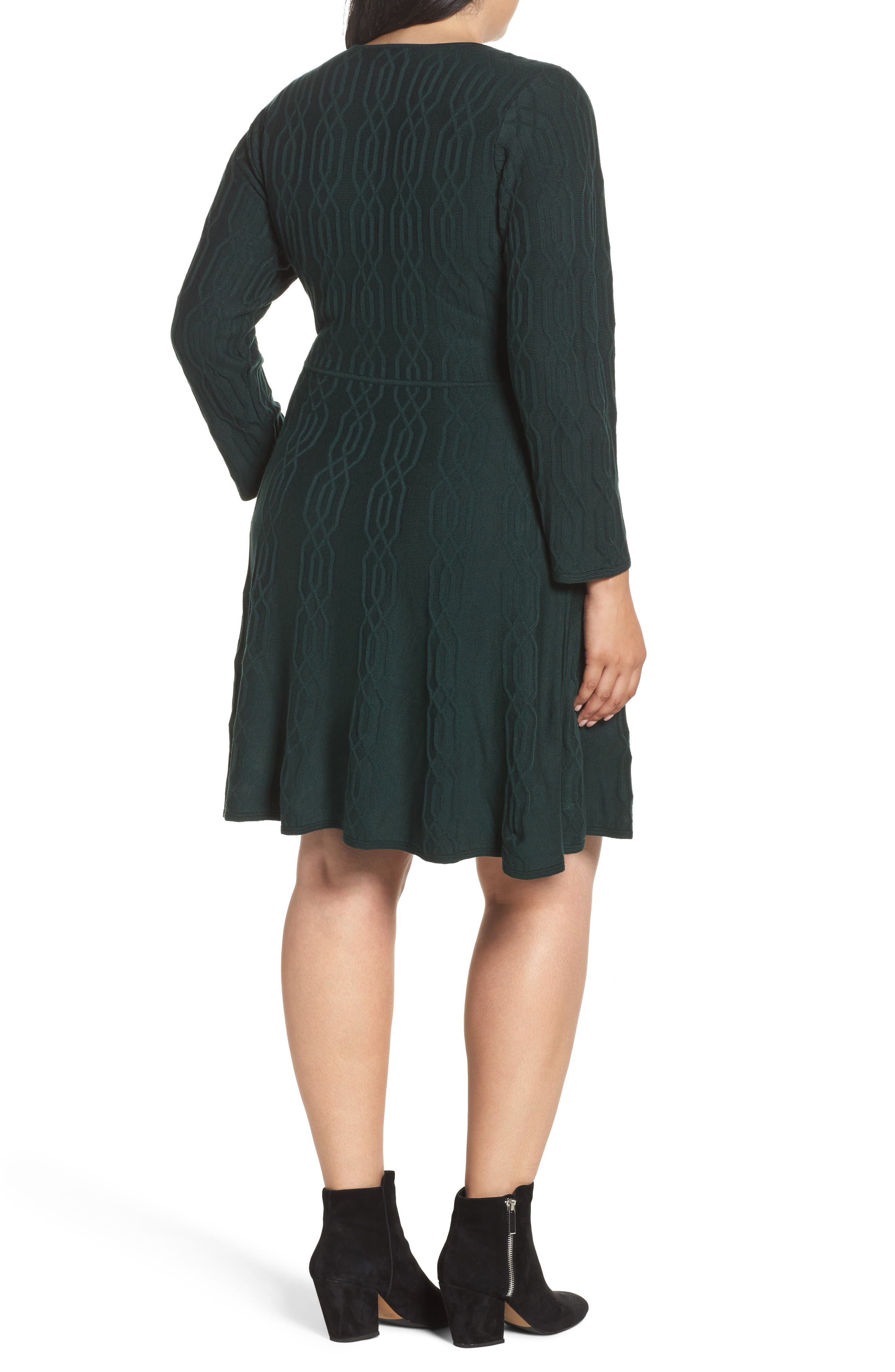 Jacquard Knit Fit & Flare Dress,                             Alternate thumbnail 2, color,                             Green