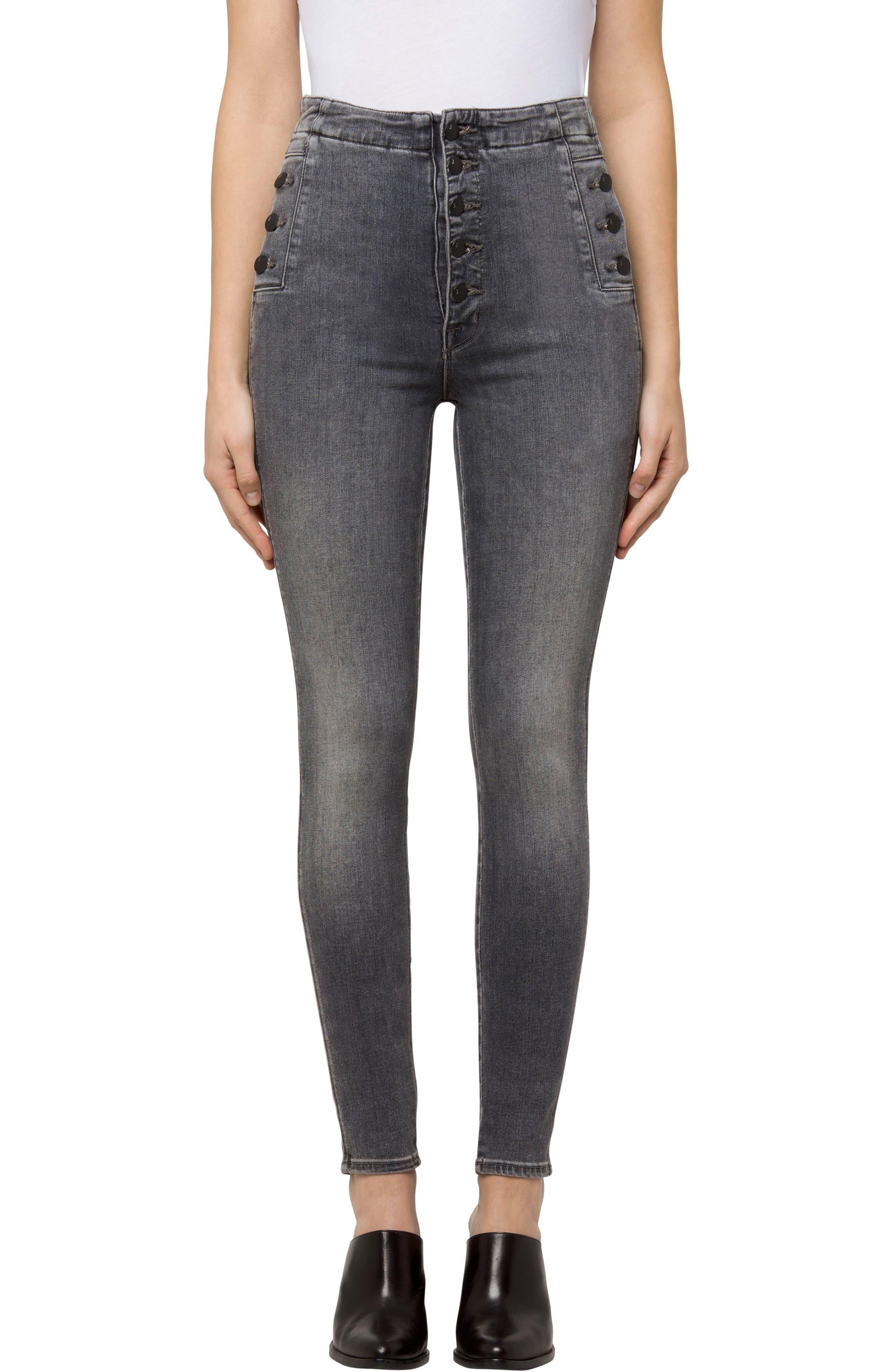 Natasha Sky High Button Skinny Jeans,                         Main,                         color, Earl Grey