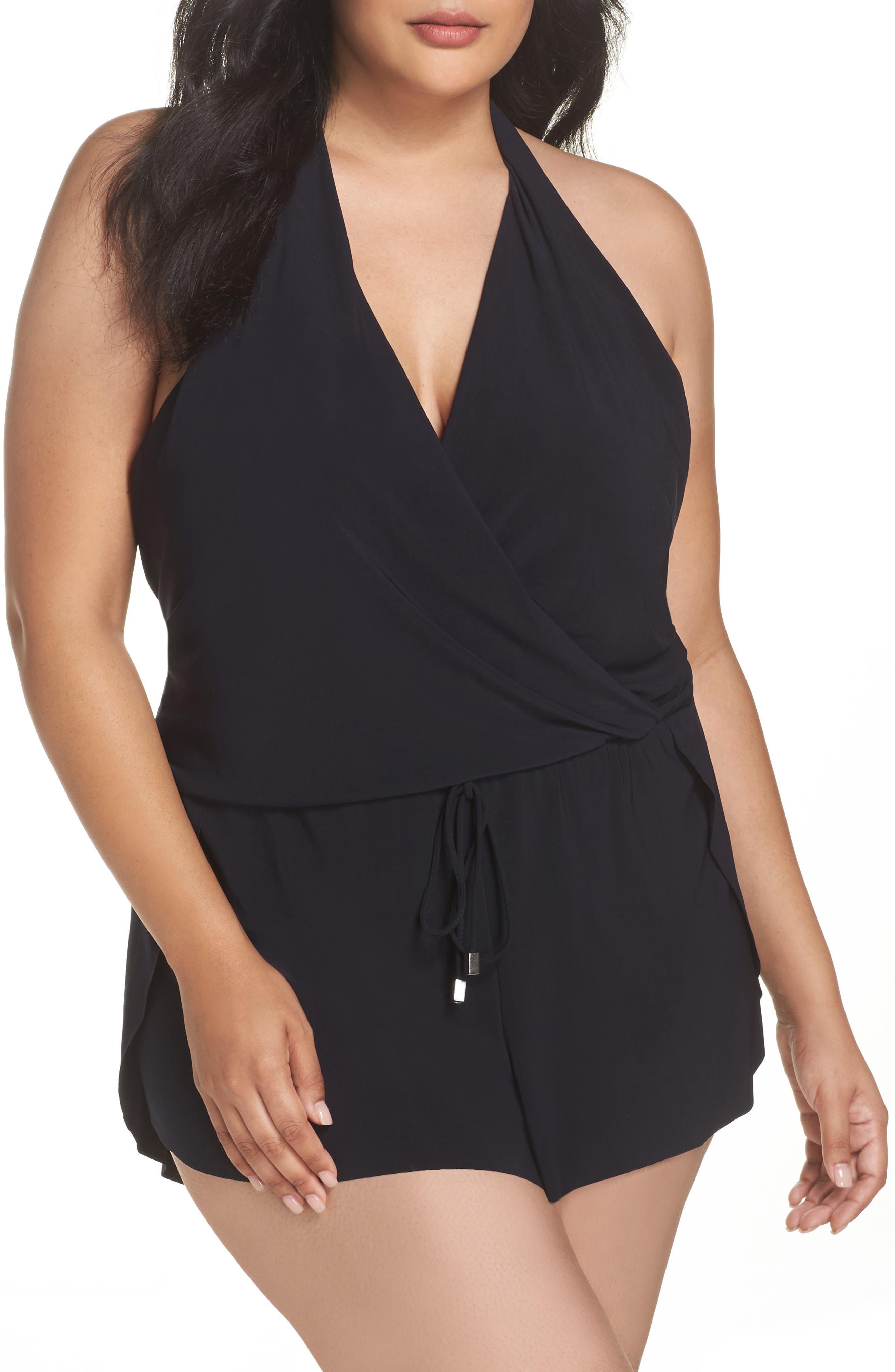 Bianca One-Piece Romper Swimsuit,                             Main thumbnail 1, color,                             Black