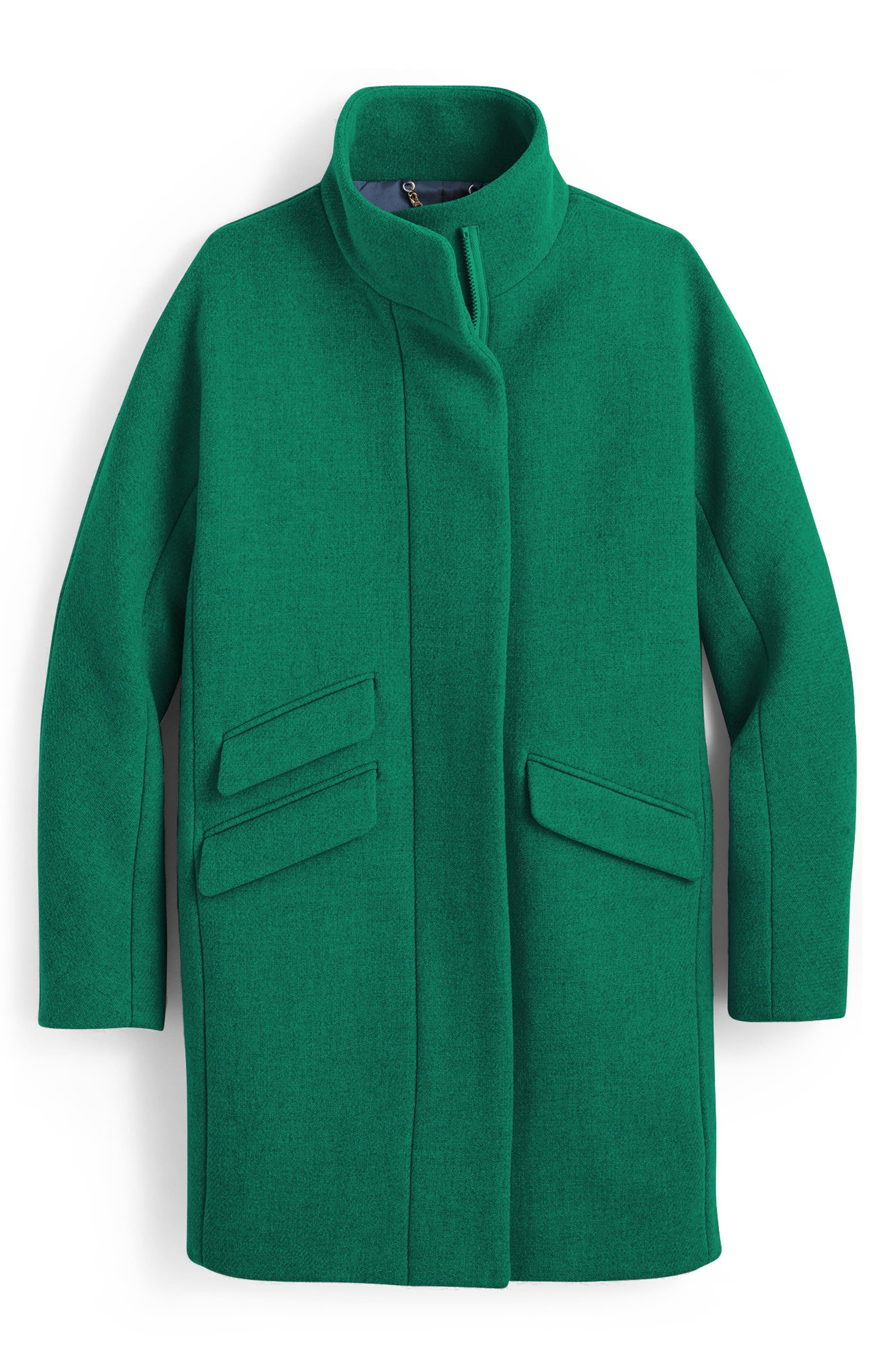 J.Crew Stadium Cloth Cocoon Coat,                             Main thumbnail 1, color,                             Heather Forest