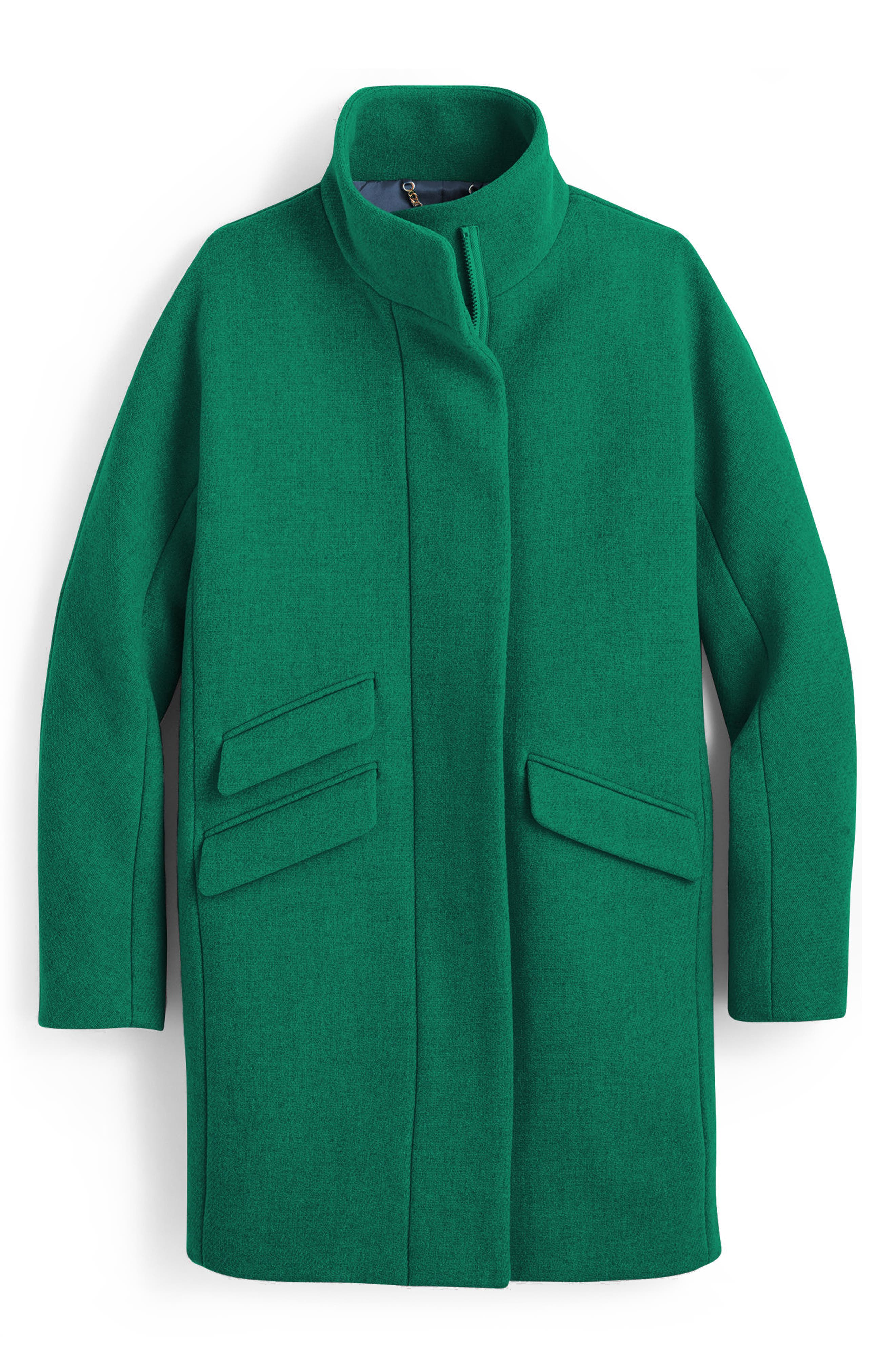 J.Crew Stadium Cloth Cocoon Coat,                         Main,                         color, Heather Forest