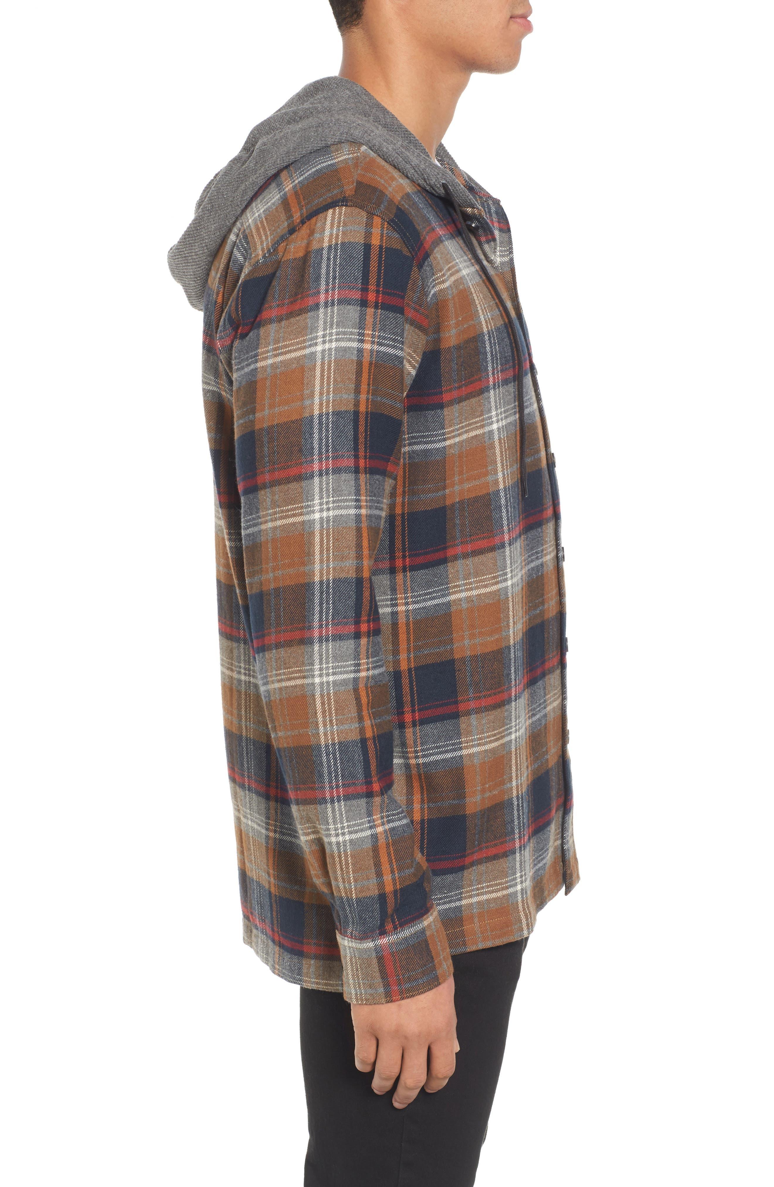 Baja Hooded Flannel Shirt,                             Alternate thumbnail 3, color,                             Tobacco