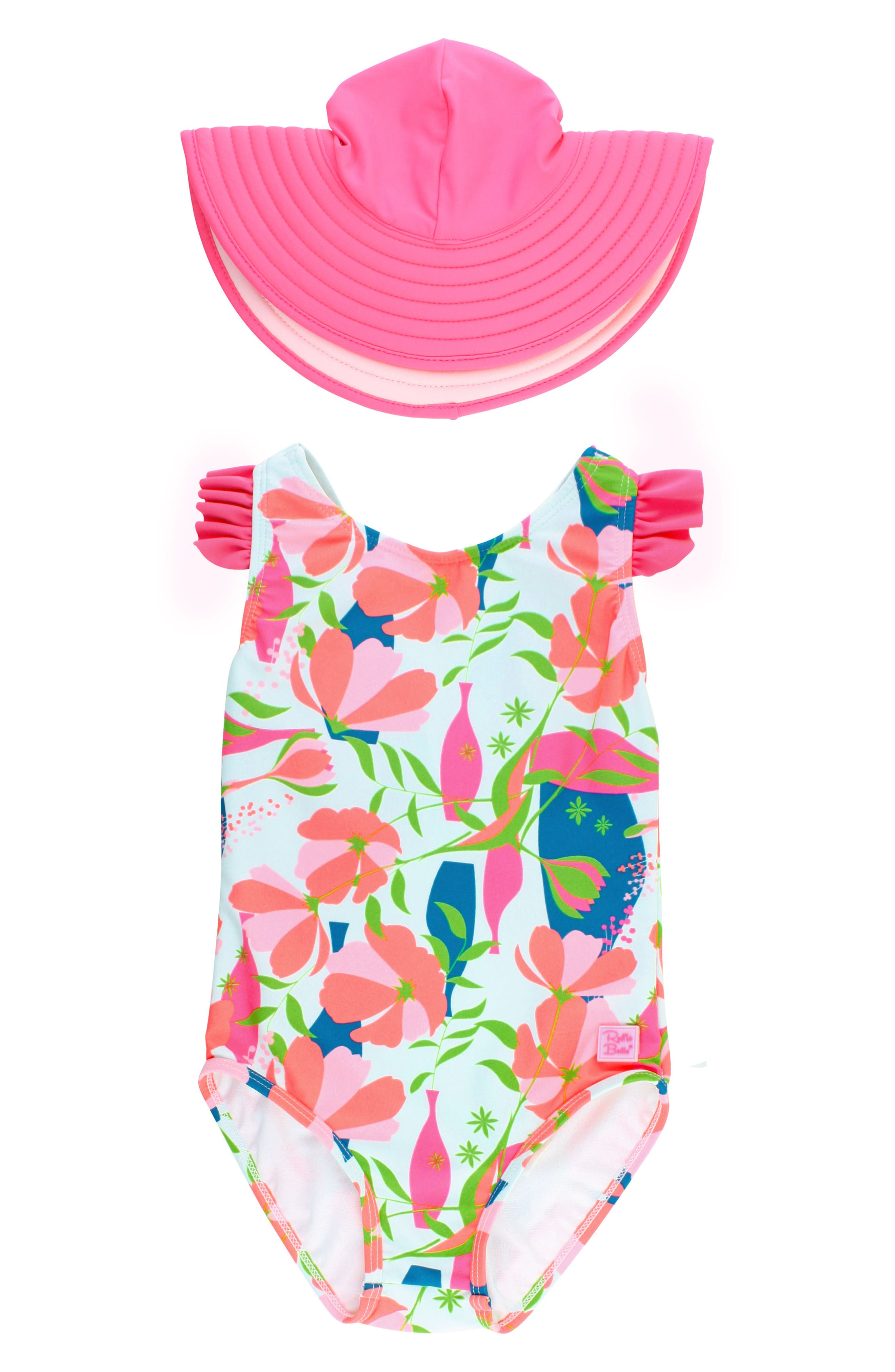 Alternate Image 1 Selected - RuffleButts One-Piece Swimsuit & Hat Set (Toddler Girls)