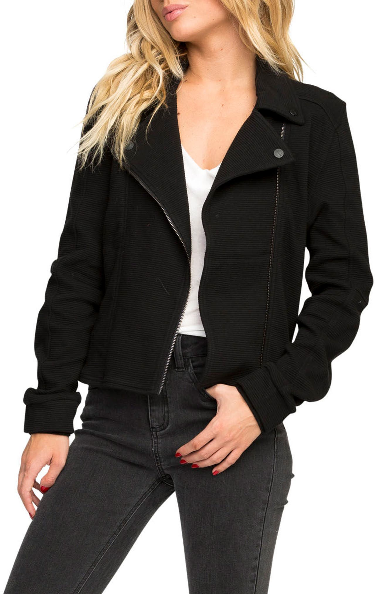 Reckoner Cotton Moto Jacket,                             Main thumbnail 1, color,                             Black