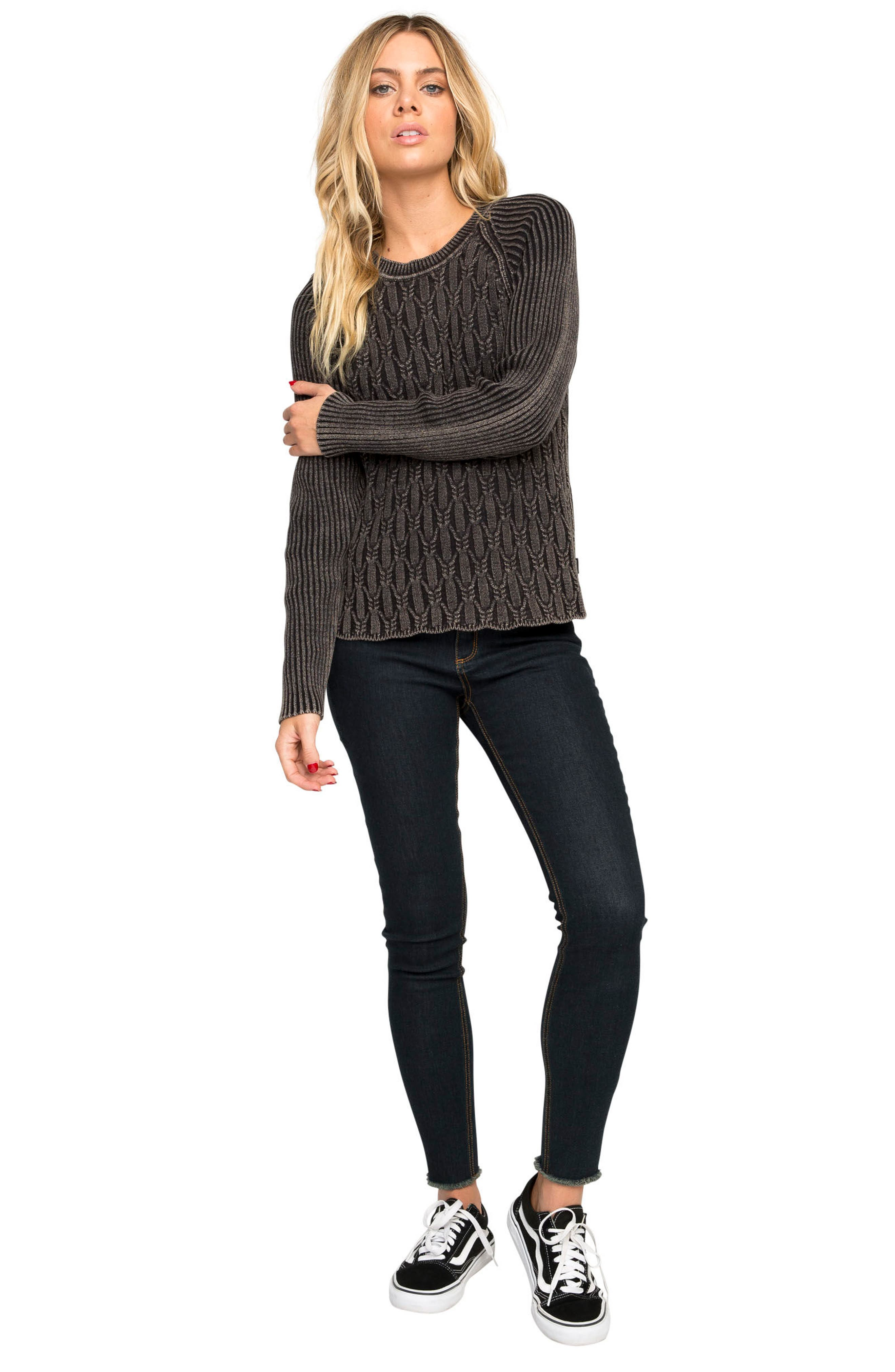 Chained Cotton Sweater,                             Alternate thumbnail 2, color,                             Black