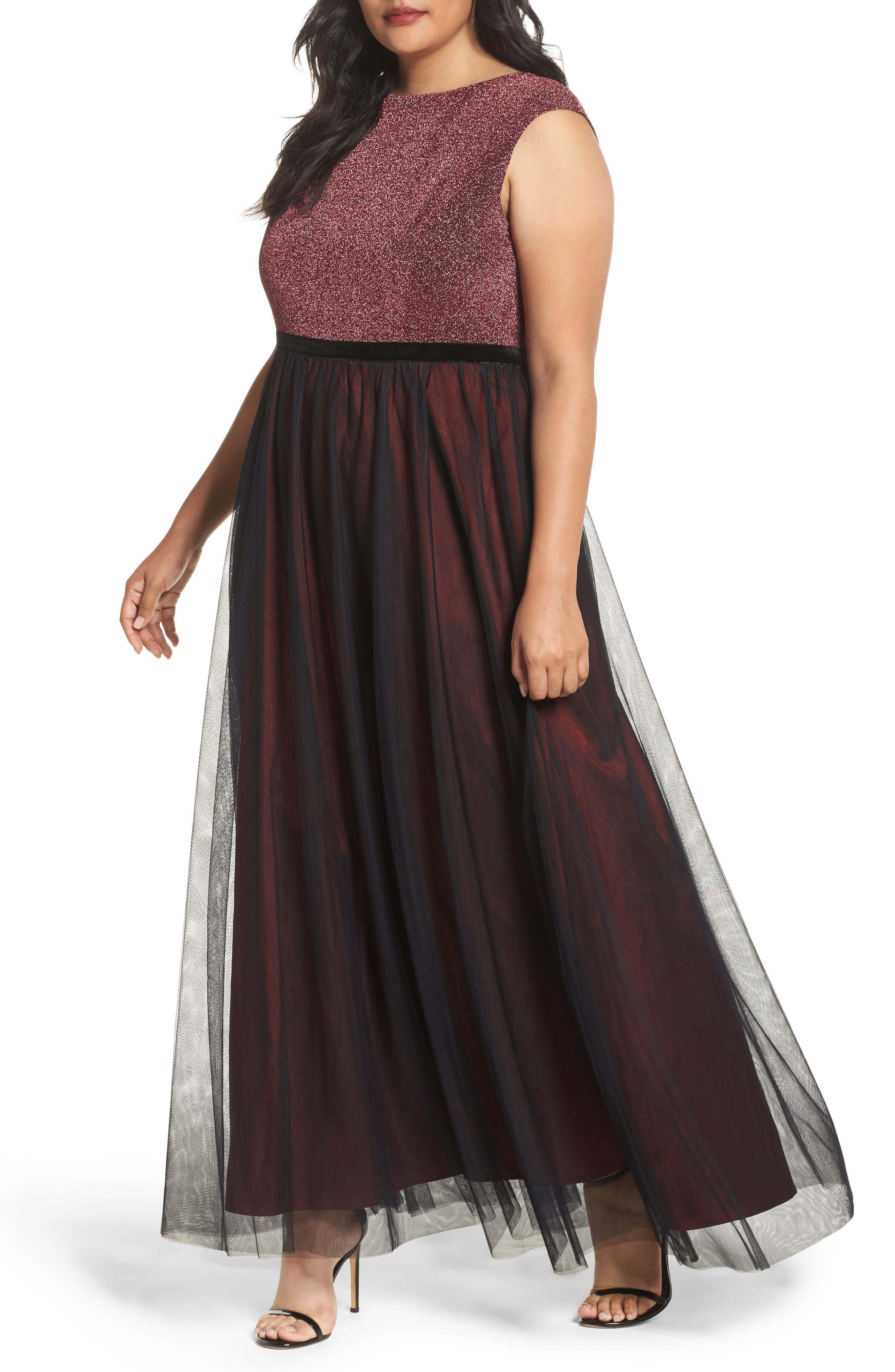 Main Image - Sangria Metallic Knit & Tulle A-Line Gown (Plus Size)