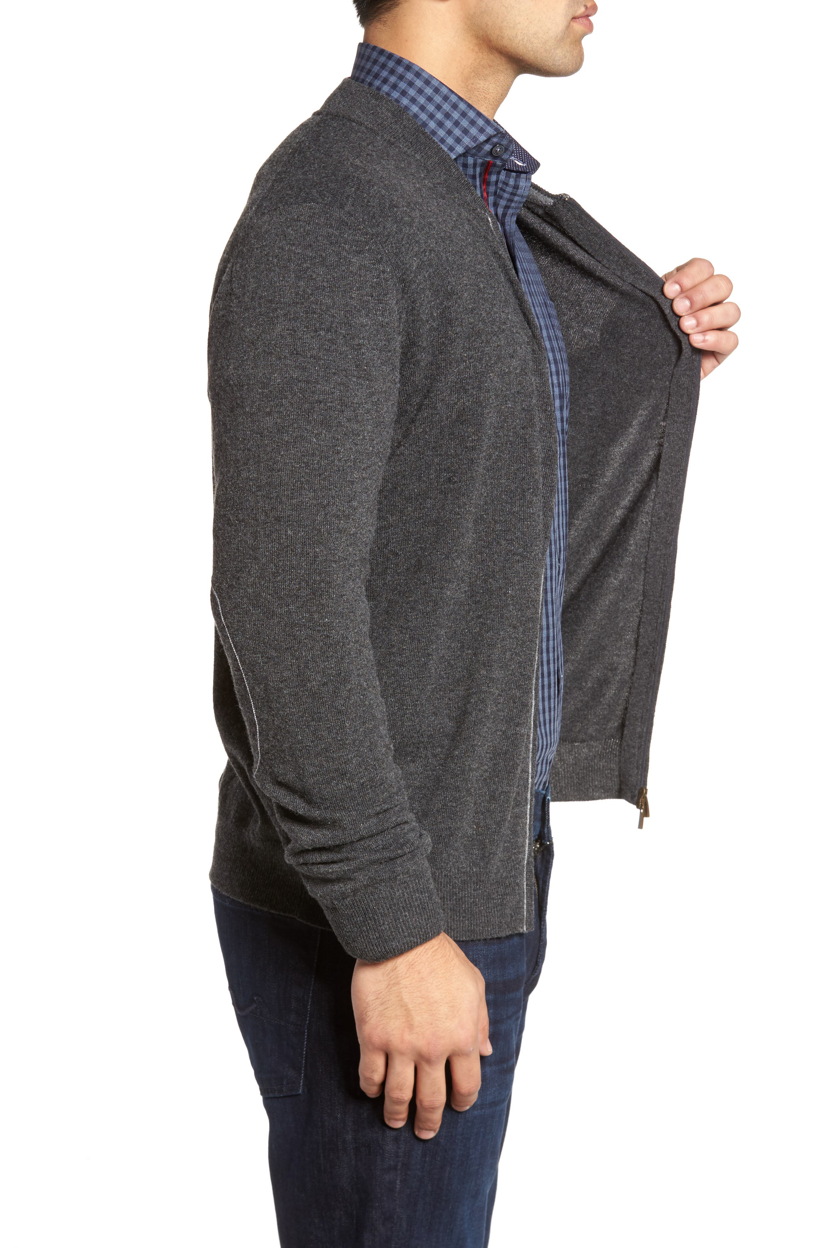 Zip Sweater,                             Alternate thumbnail 3, color,                             Graphite
