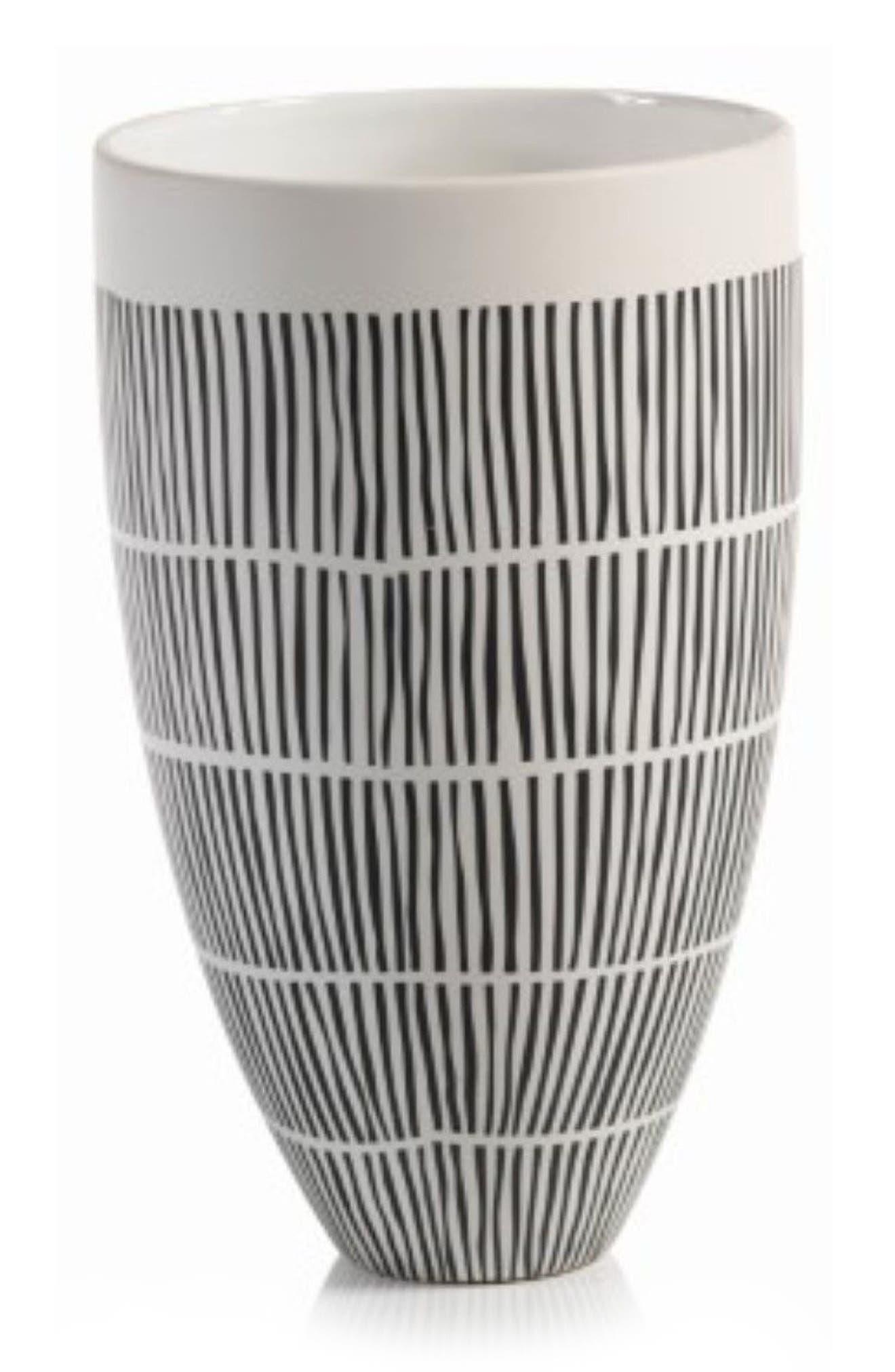 Marquesa Ceramic Vase,                         Main,                         color, White/ Black