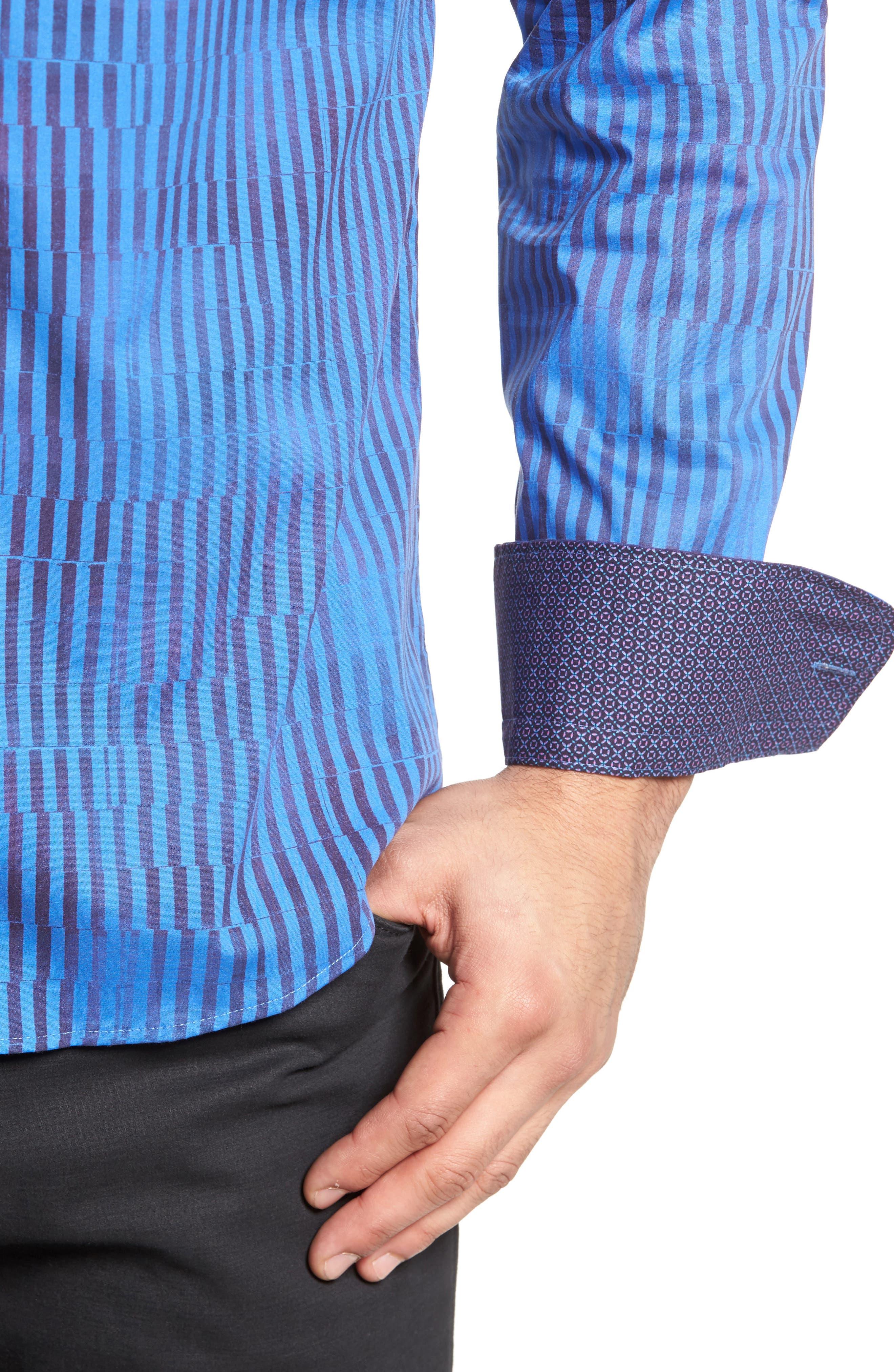 Bold FX Stripe Print Sport Shirt,                             Alternate thumbnail 4, color,                             Electric Blue