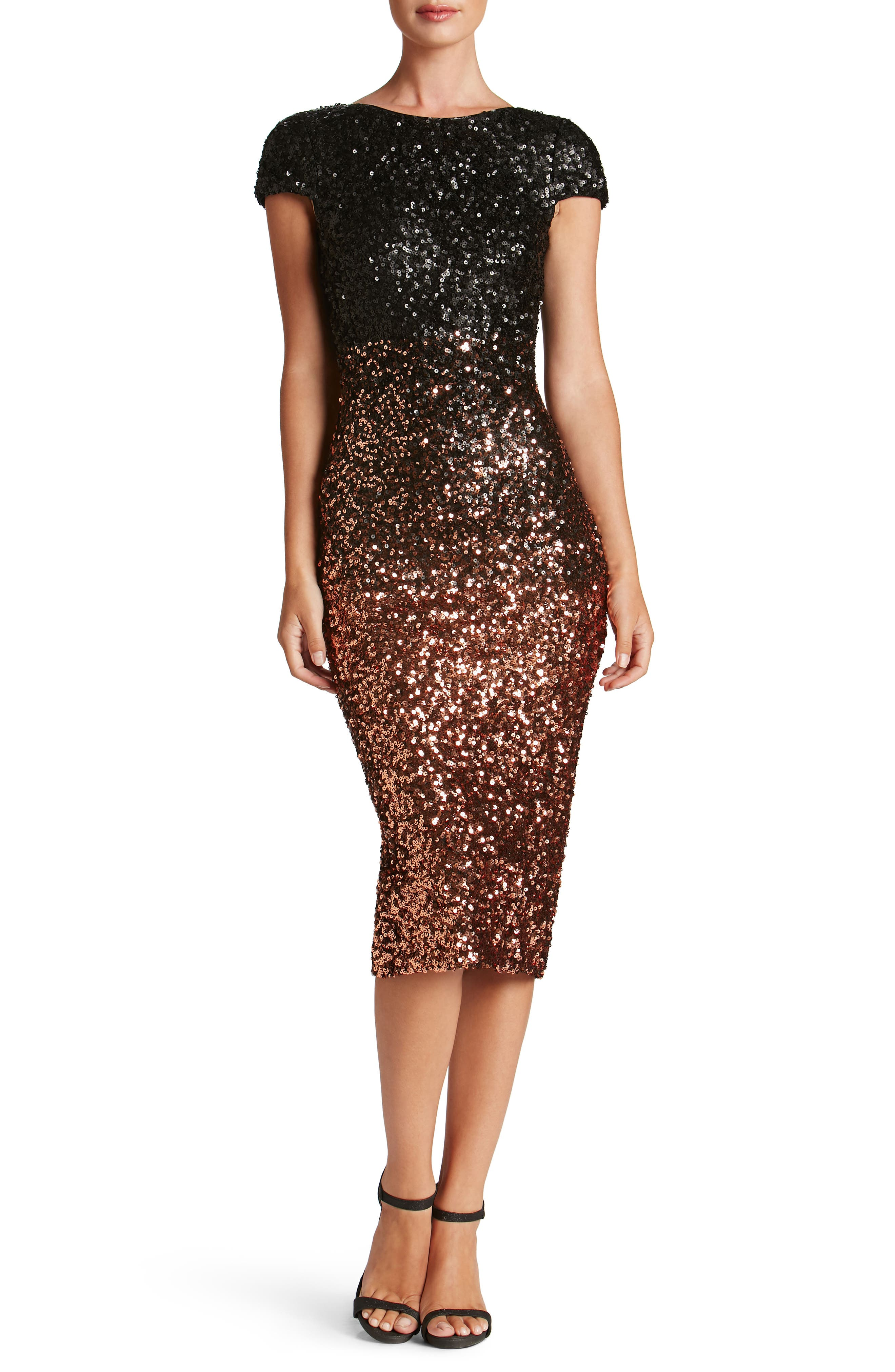 Marcella Ombré Sequin Body-Con Dress,                             Main thumbnail 1, color,                             Copper/ Black