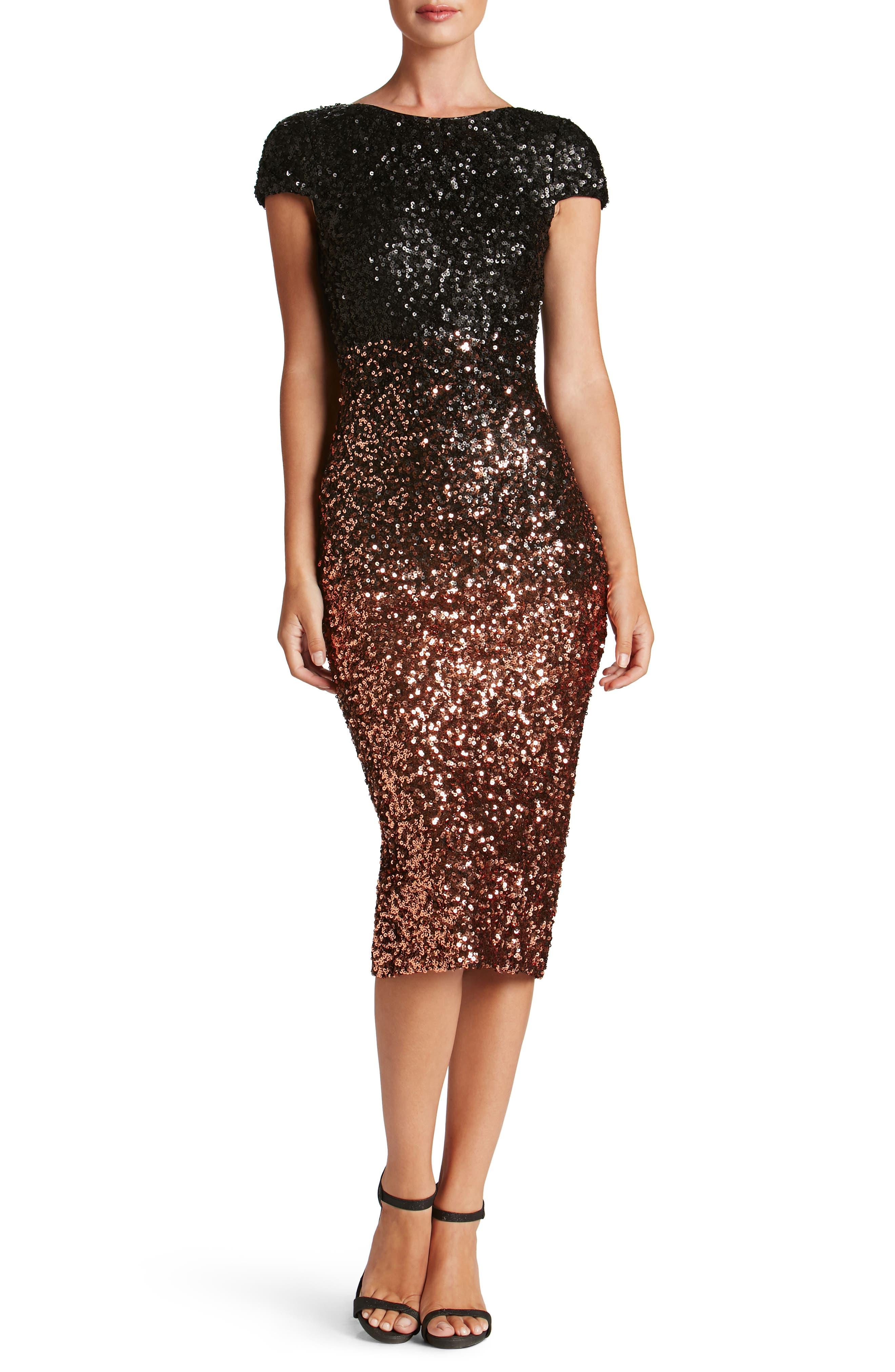 Marcella Ombré Sequin Body-Con Dress,                         Main,                         color, Copper/ Black