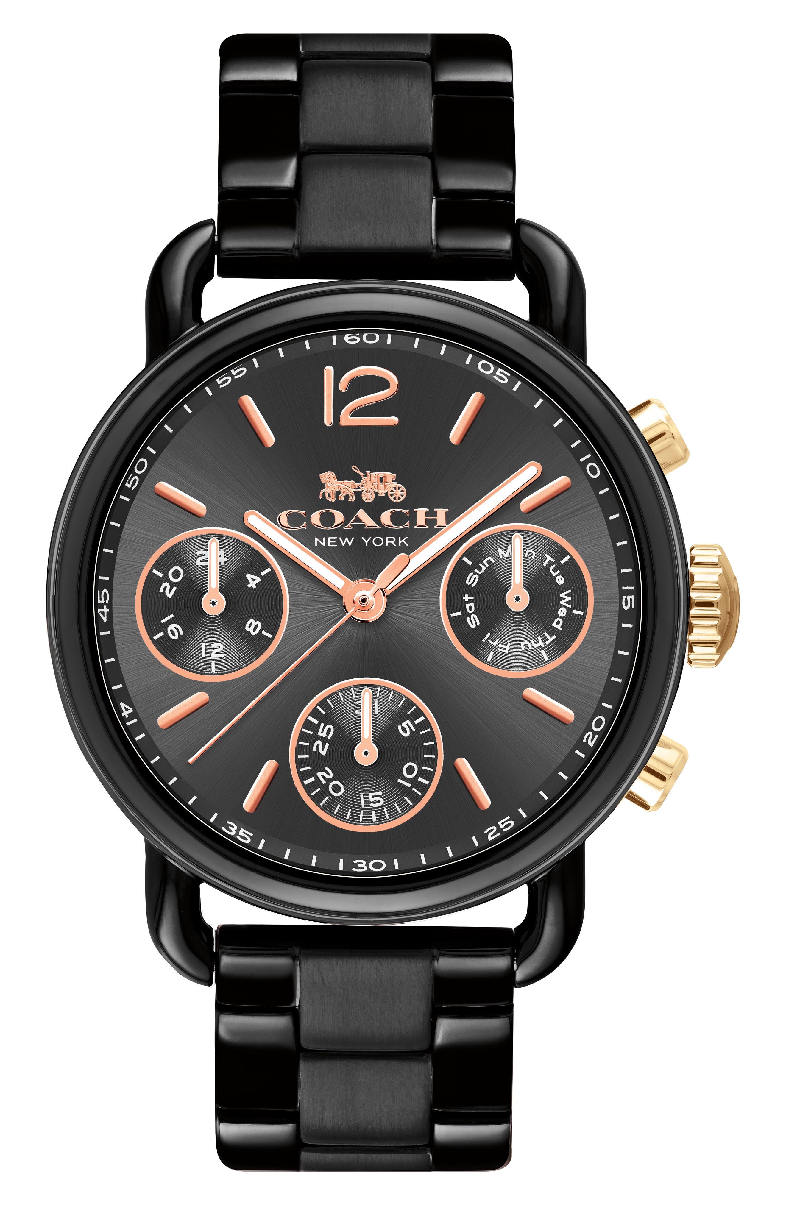 Delancey Sport Chronograph Bracelet Watch, 36mm,                             Main thumbnail 1, color,                             Black