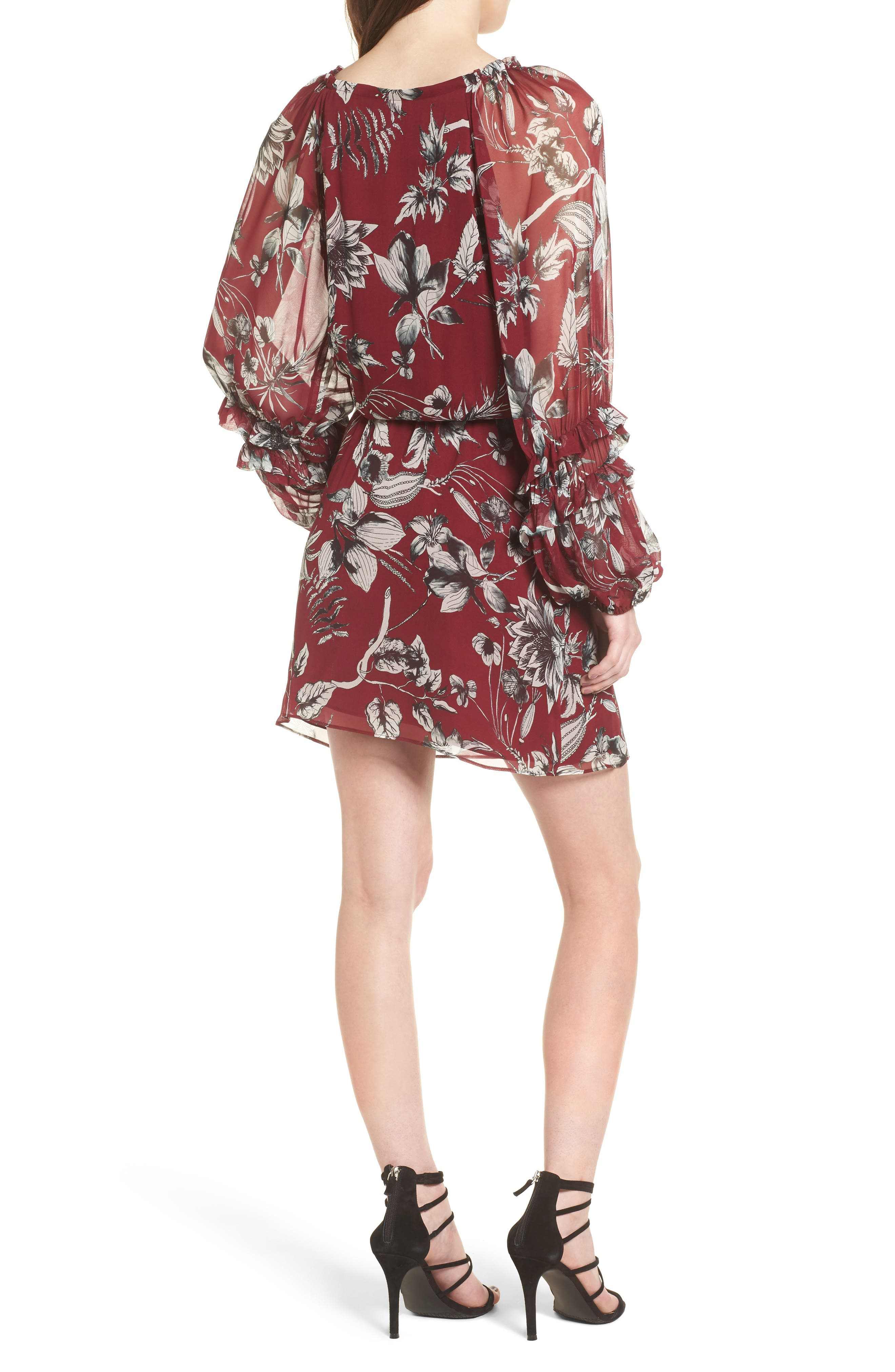 Nicole Silk Blouson Dress,                             Alternate thumbnail 2, color,                             Red Rooted