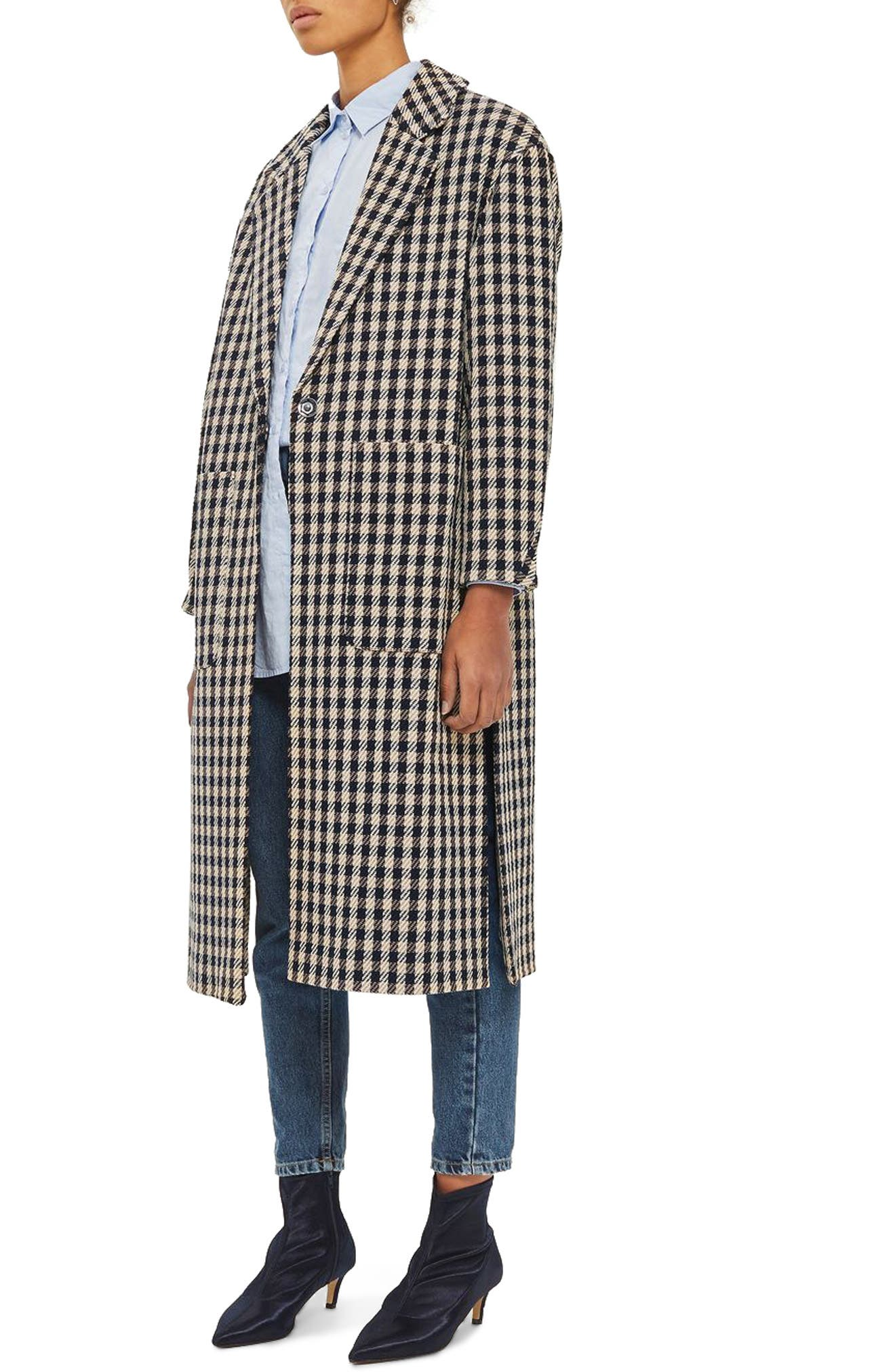 Topshop Check Side Split Coat