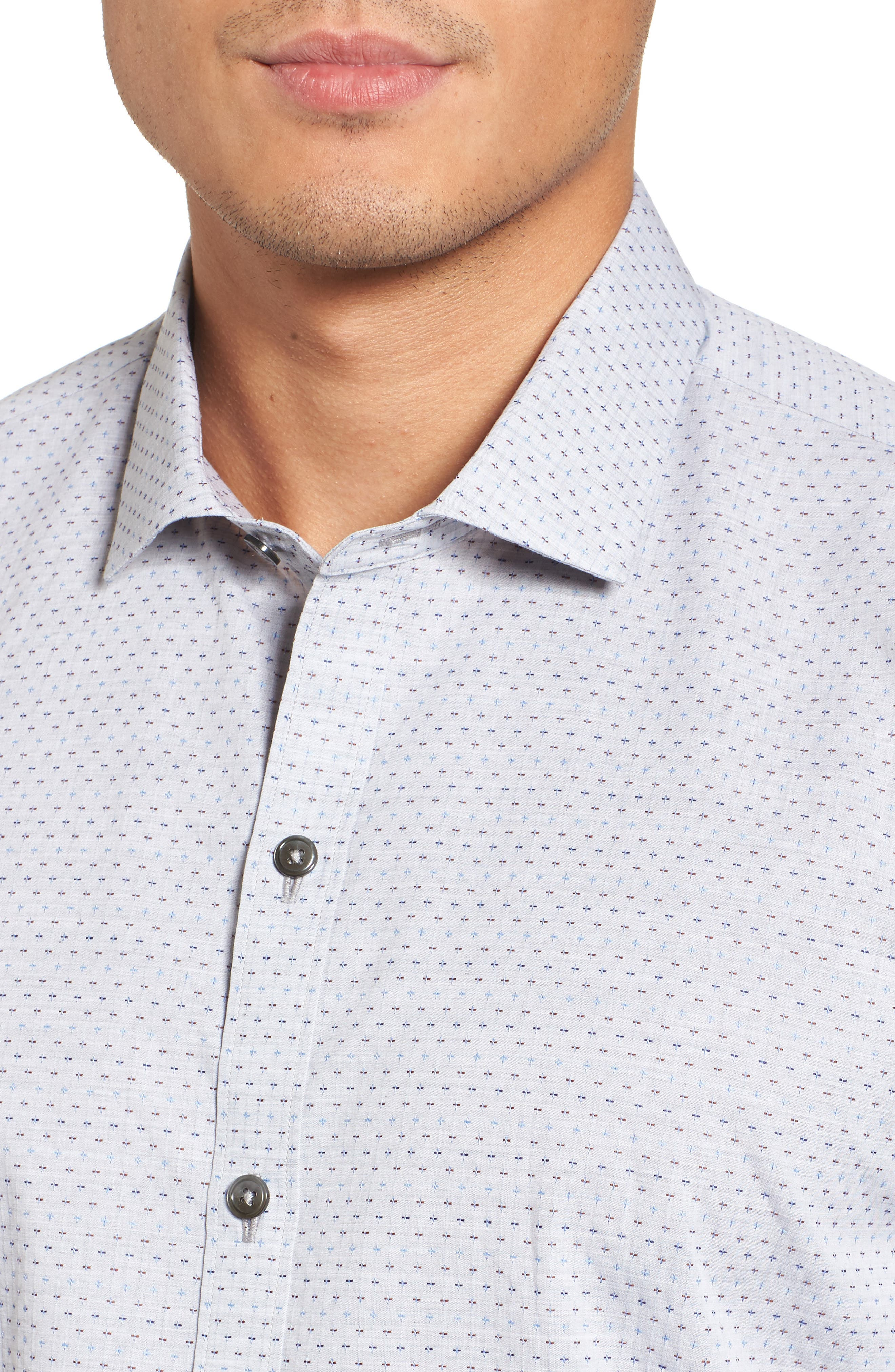 Atila Slim Fit Dobby Woven Sport Shirt,                             Alternate thumbnail 4, color,                             Light Grey