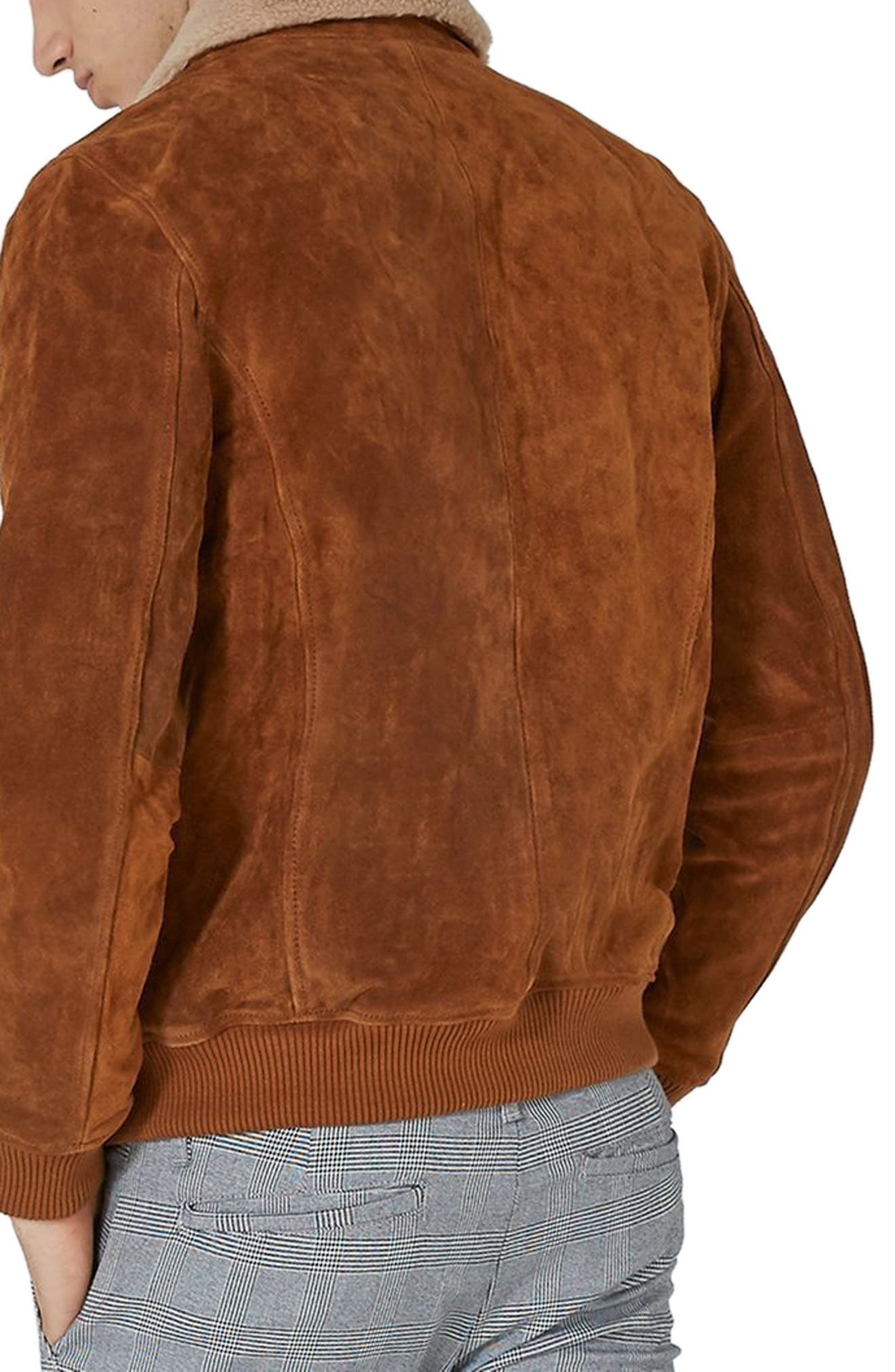 Borg Collar Suede Jacket,                             Alternate thumbnail 2, color,                             Brown
