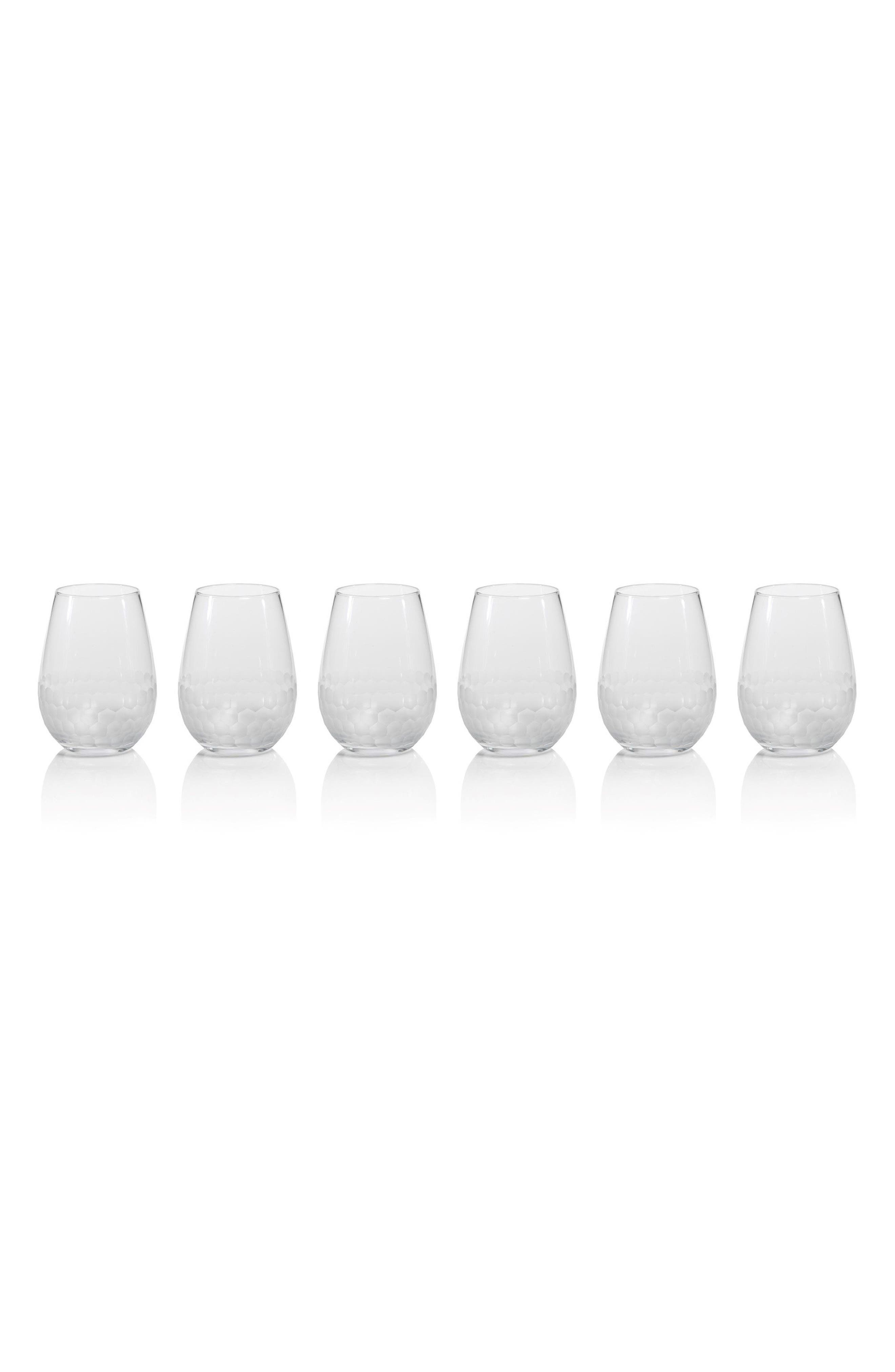 Vitorrio Set of 6 Frosted Stemless Wine Glasses,                         Main,                         color, Clear