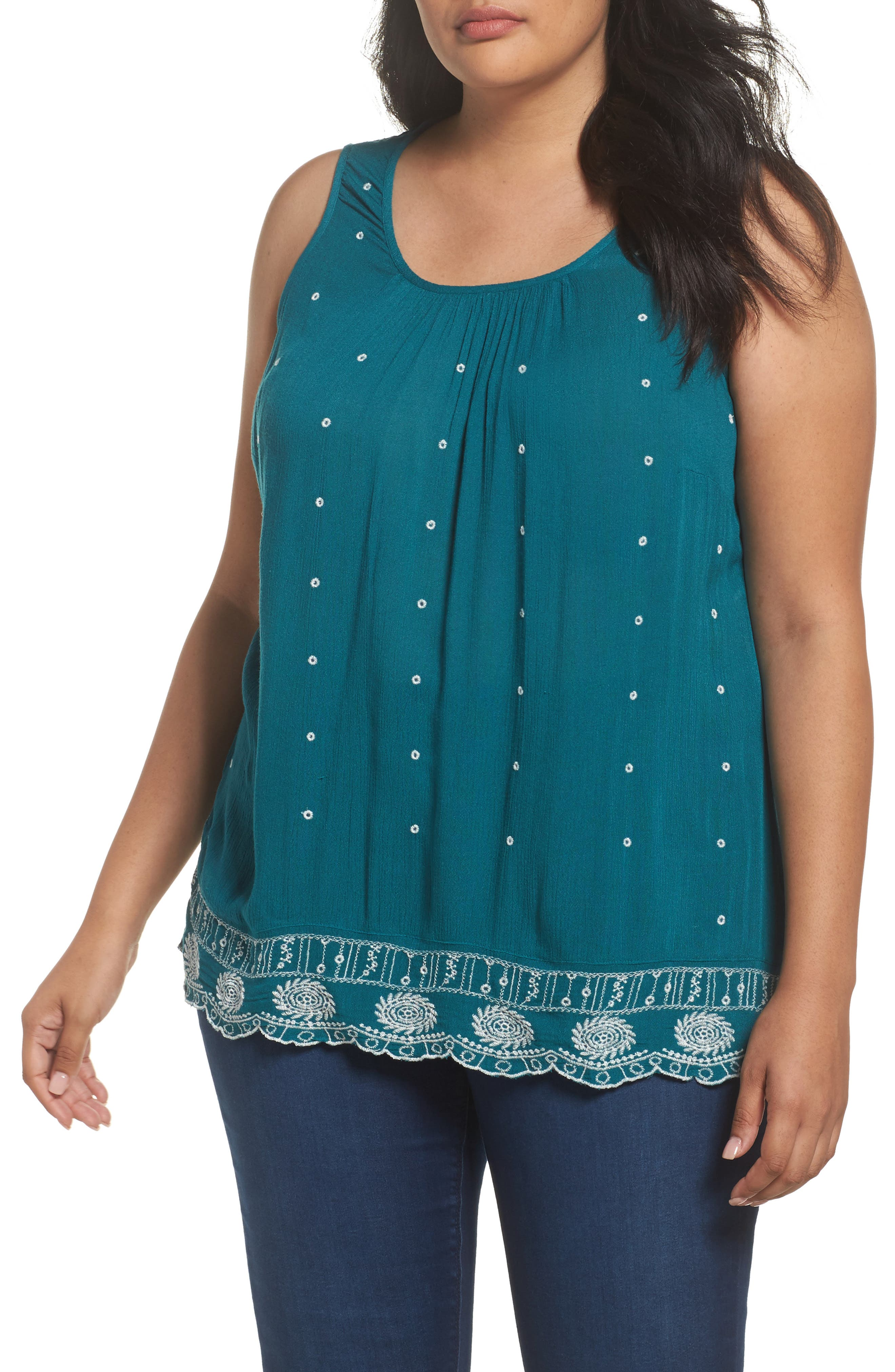 Main Image - Evans Embroidered Border Shell Top (Plus Size)