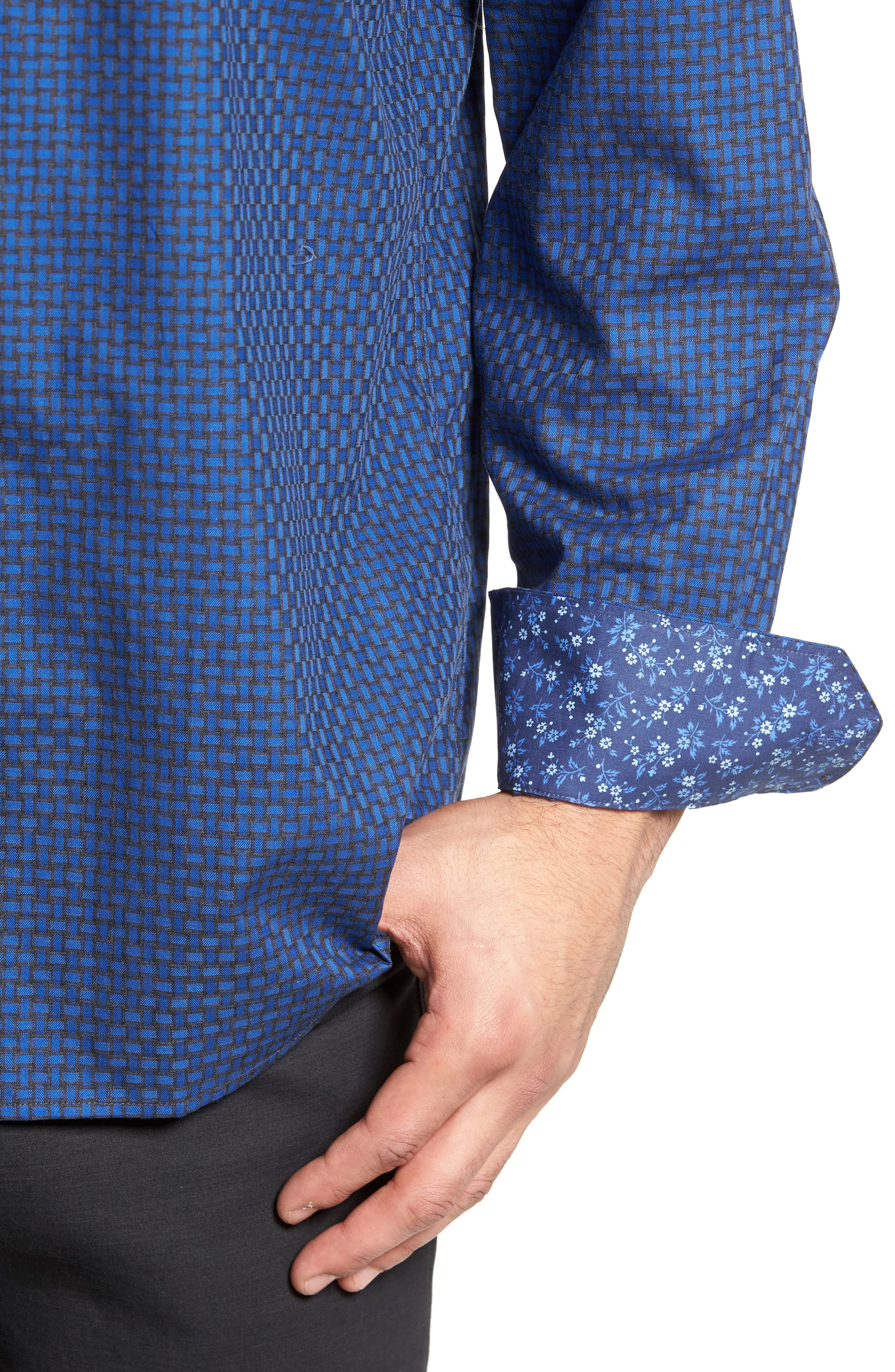 Classic Fit Basket Weave Jacquard Sport Shirt,                             Alternate thumbnail 4, color,                             Night Blue