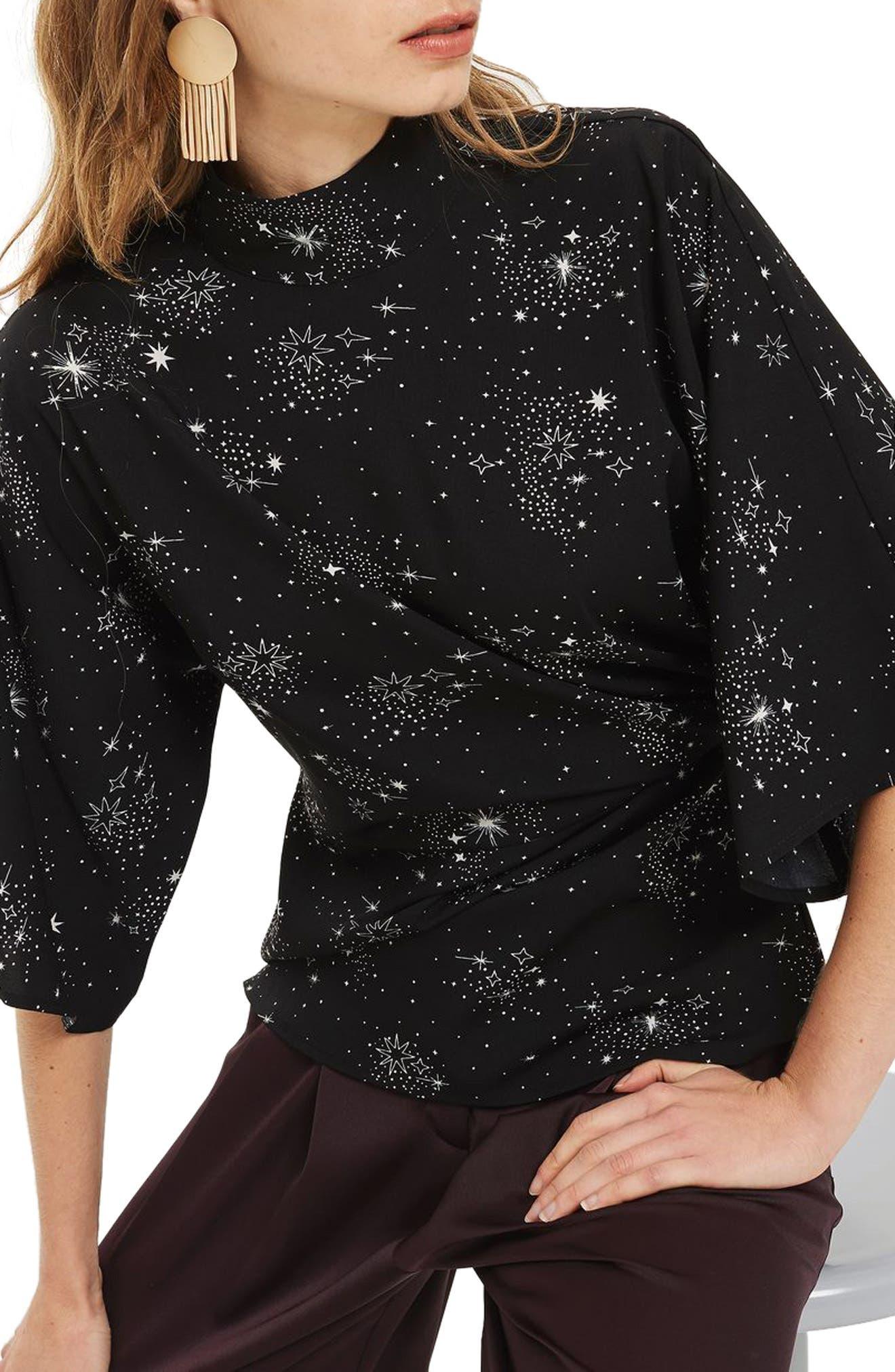 Star Print Origami Tuck Blouse,                             Main thumbnail 1, color,                             Black Multi