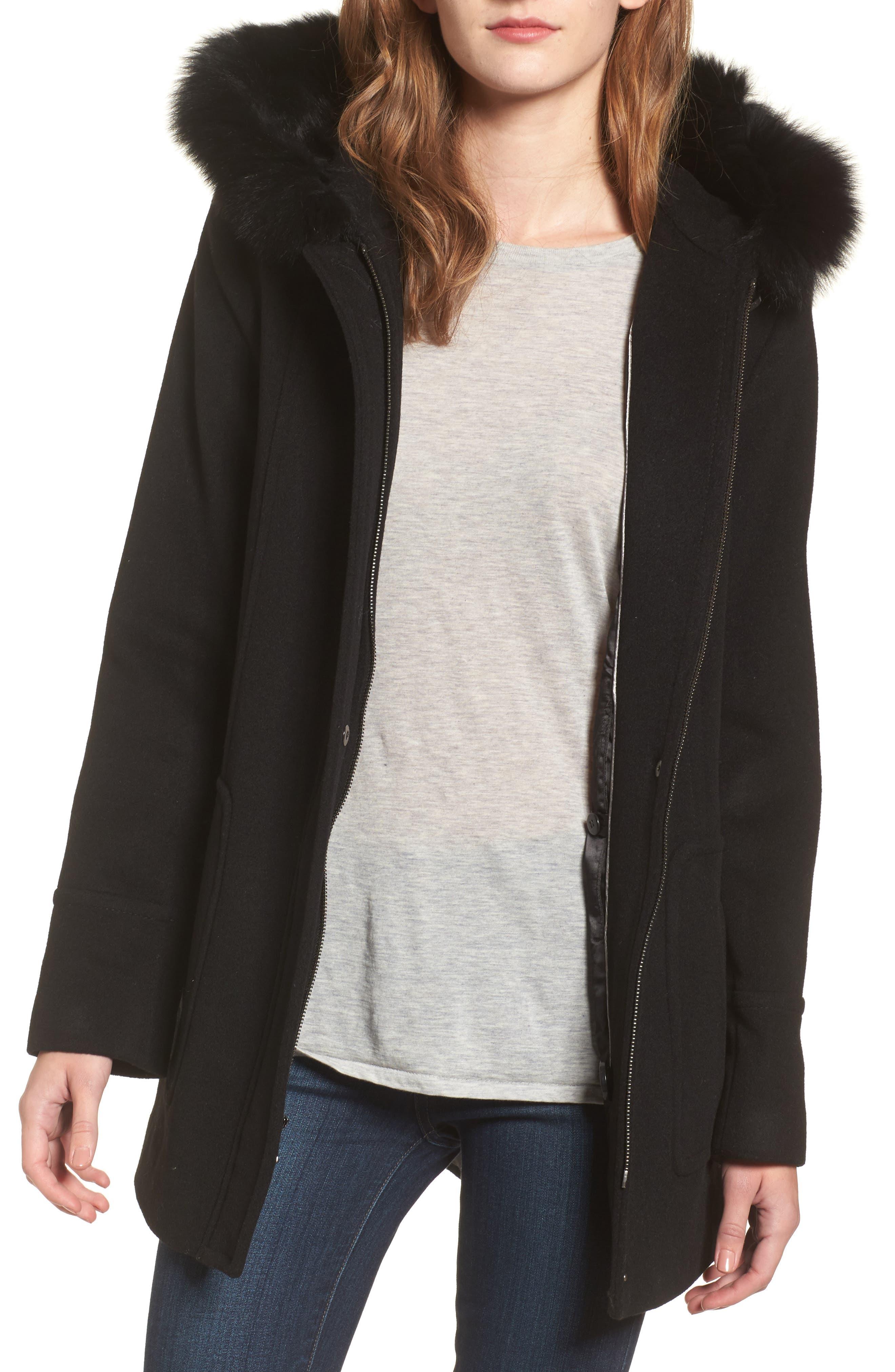 Hooded Wool Blend Coat with Genuine Fox Fur Trim,                             Main thumbnail 1, color,                             Black