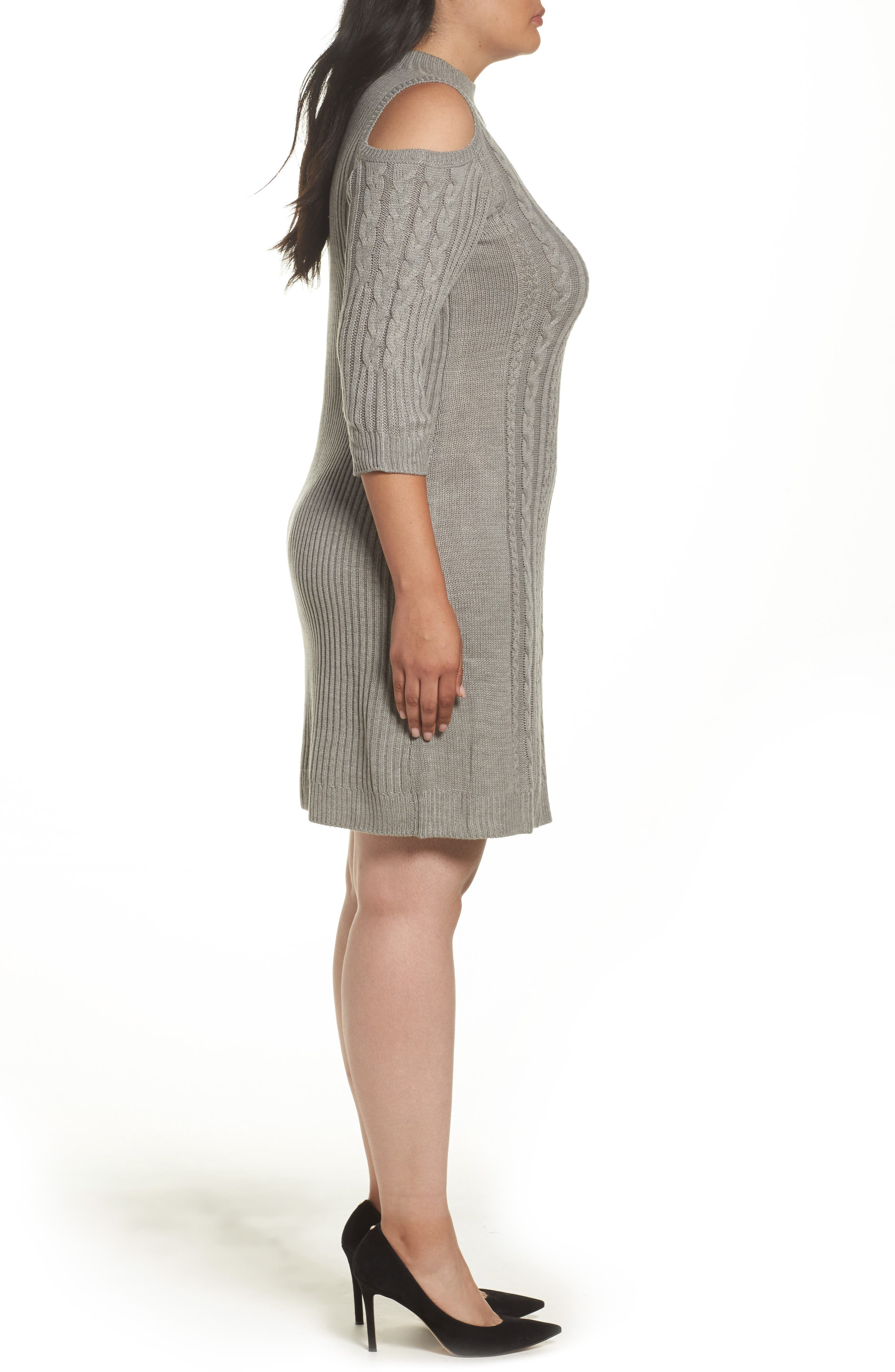 Cold Shoulder Cable Sweater Dress,                             Alternate thumbnail 3, color,                             Silver