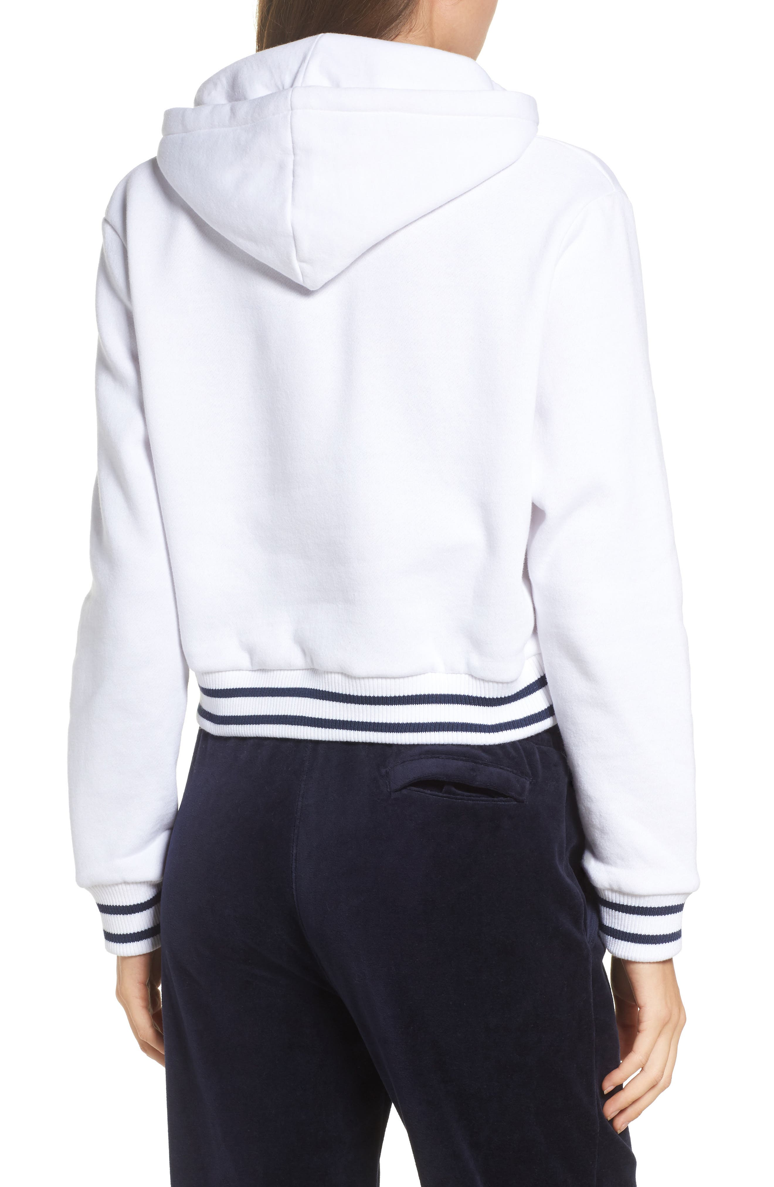 Penelope Crop Hoodie,                             Alternate thumbnail 3, color,                             White/ Navy/ Chinese Red