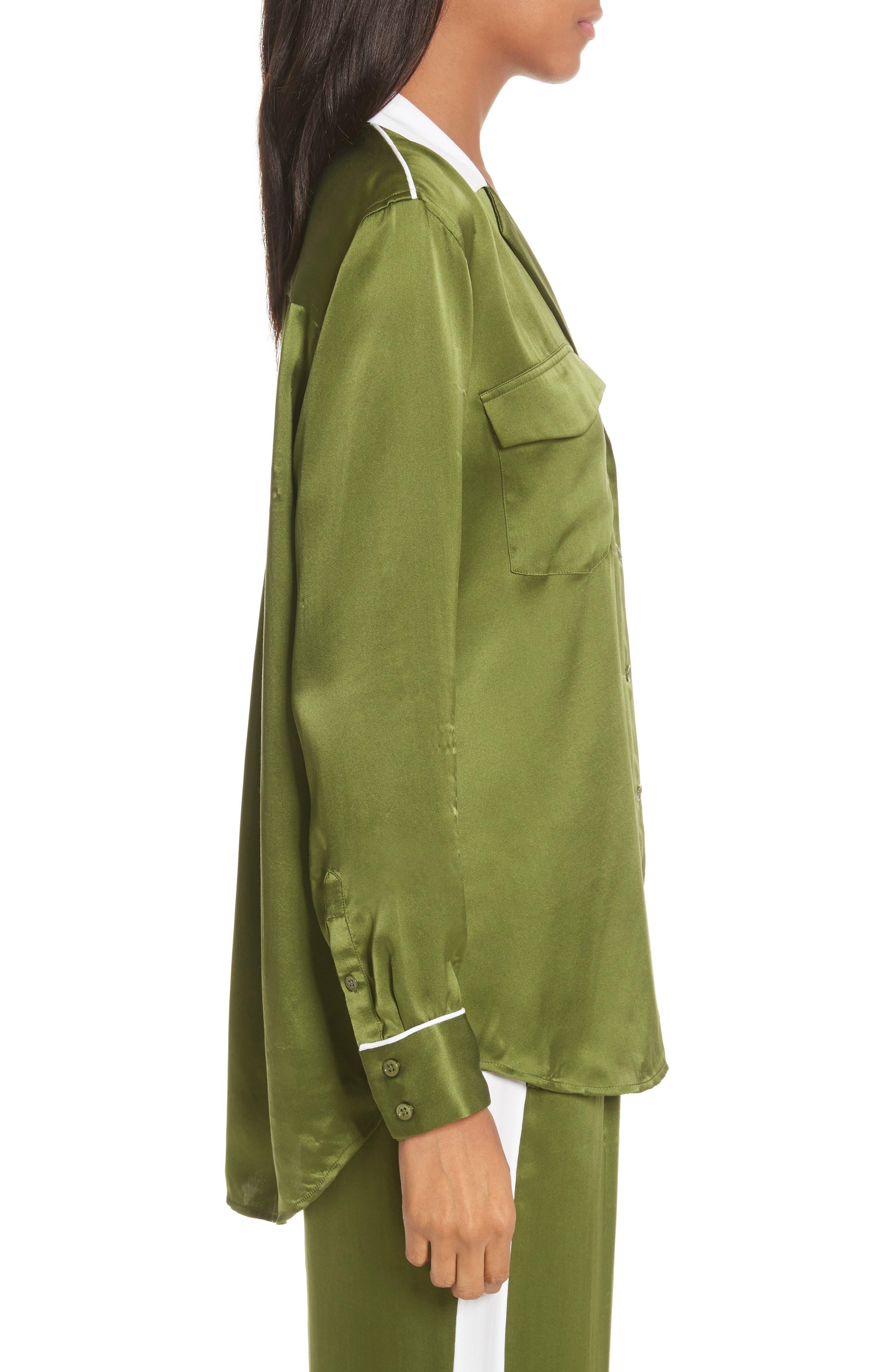 Ansley Print Silk Shirt,                             Alternate thumbnail 3, color,                             Combat Green