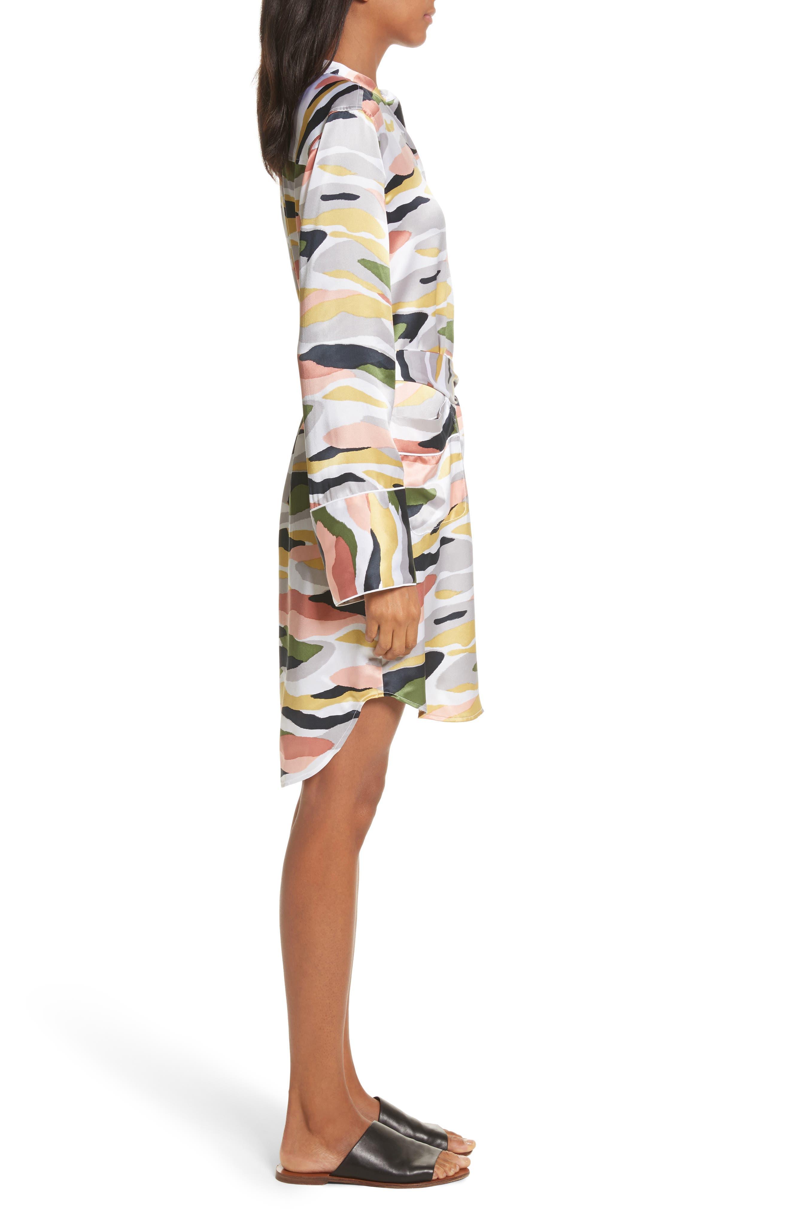 Britten Tie-Waist Silk Dress,                             Alternate thumbnail 3, color,                             Bright White Multi