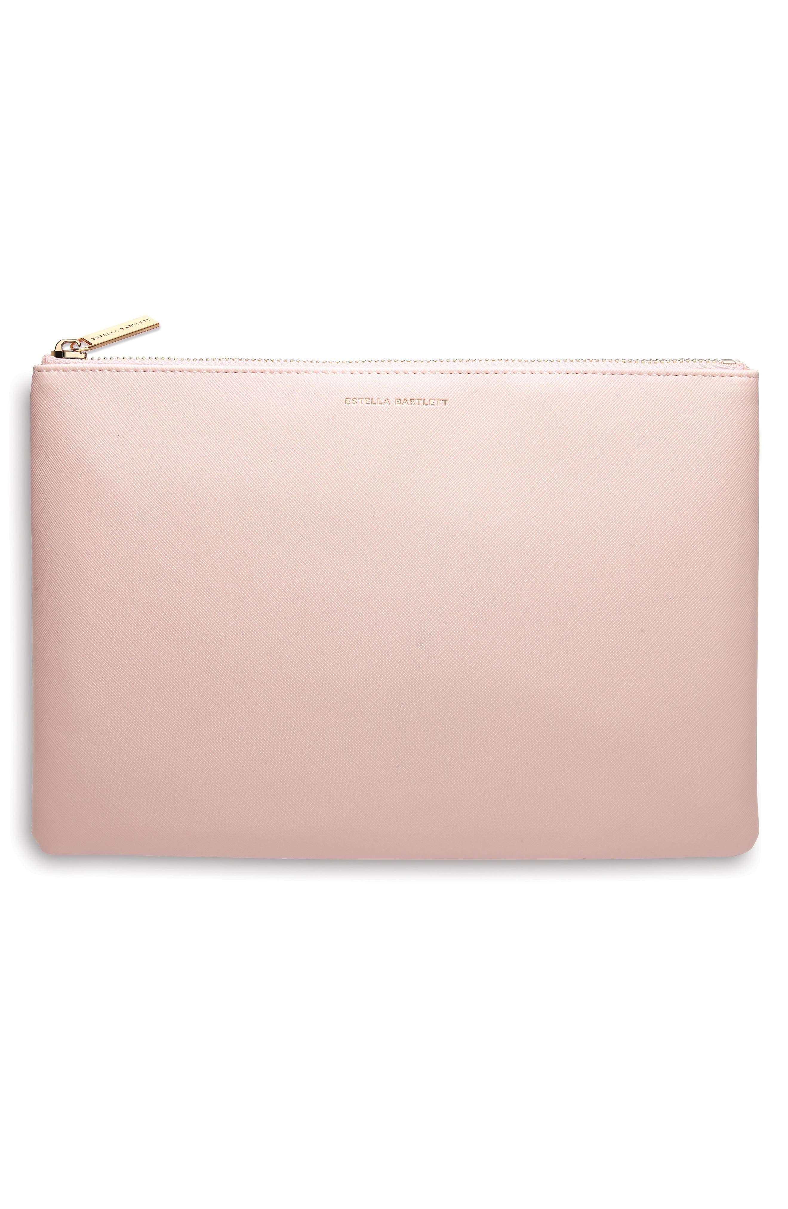 Always Be on the Lookout Faux Leather Pouch,                             Main thumbnail 1, color,                             Blush