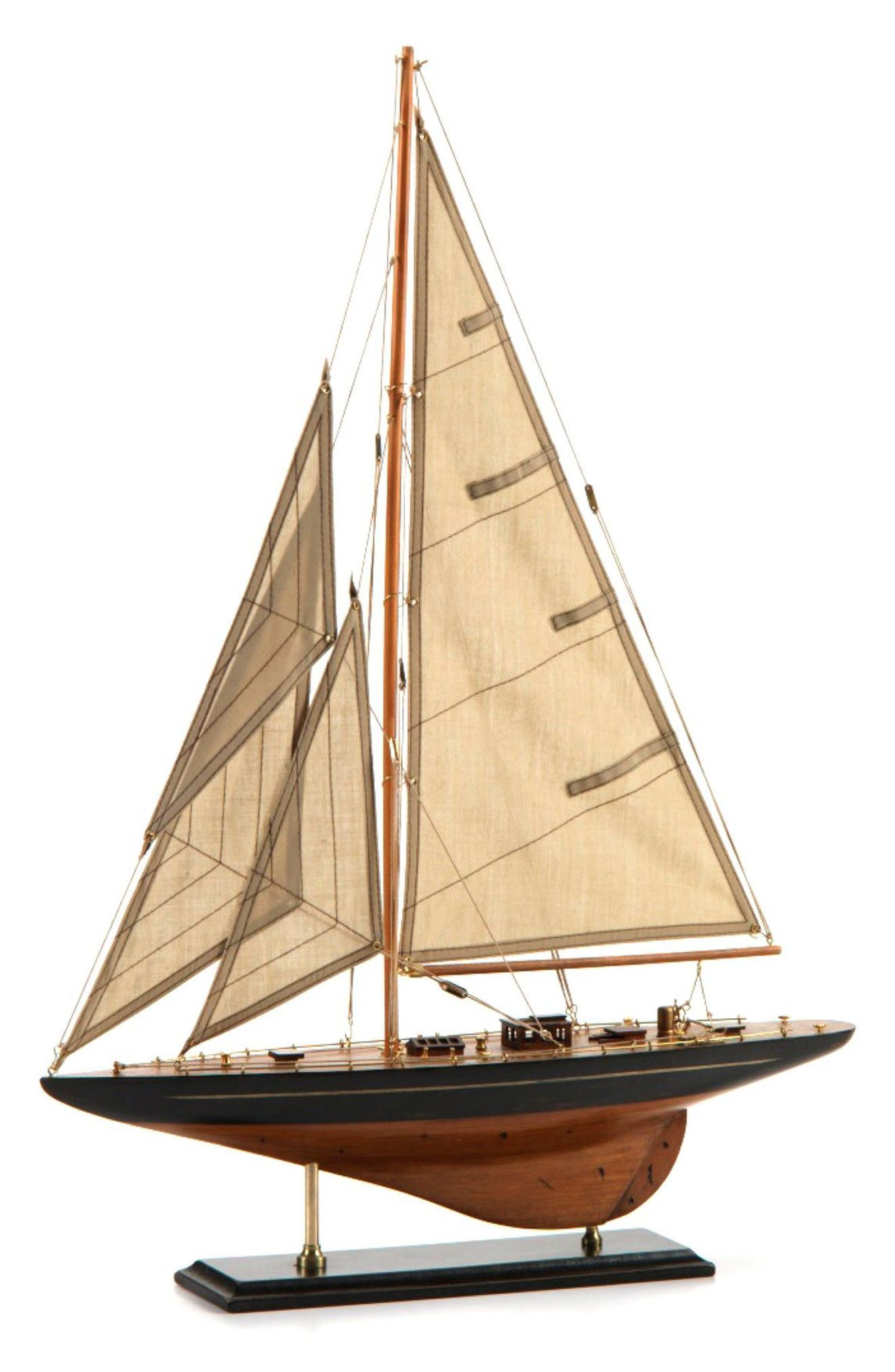 Murano Wooden Sailboat Model,                         Main,                         color, Beige