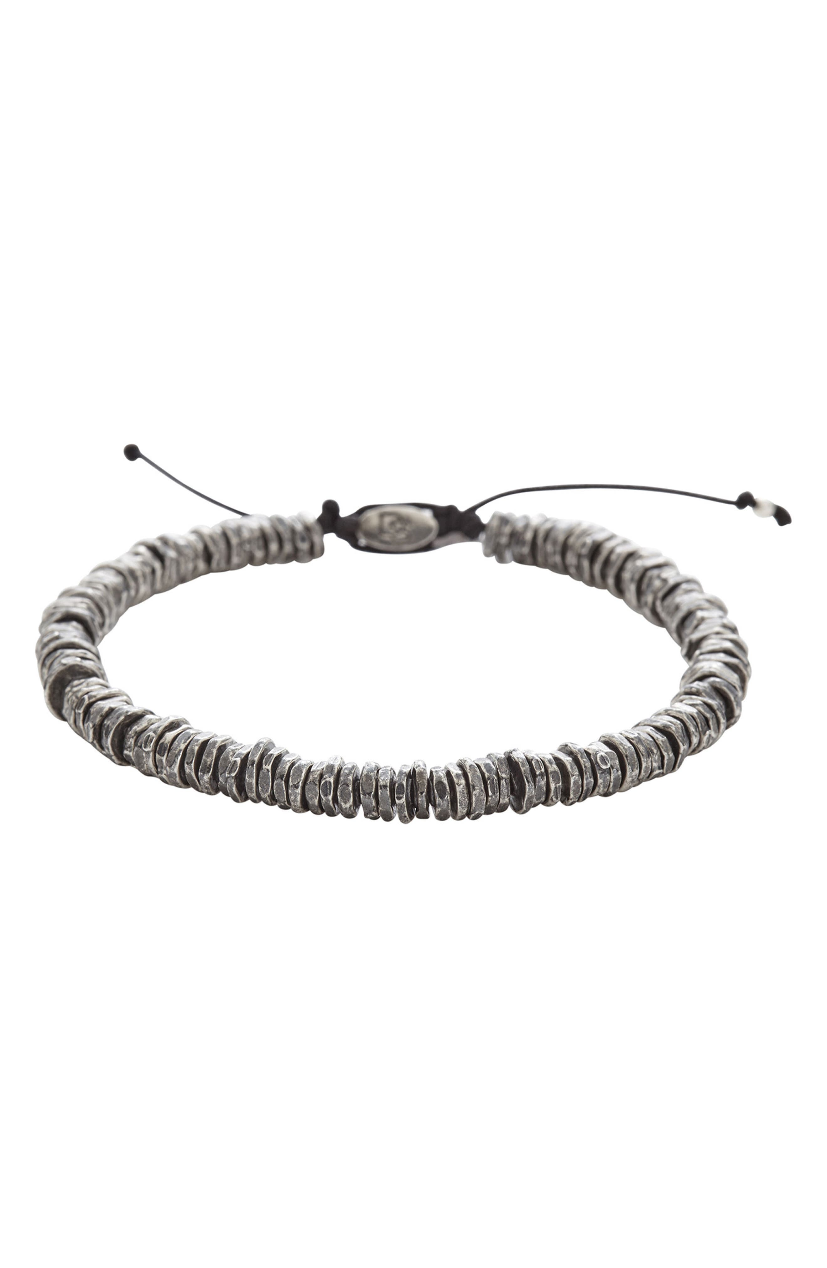 Washer Bead Bracelet,                         Main,                         color, Silver