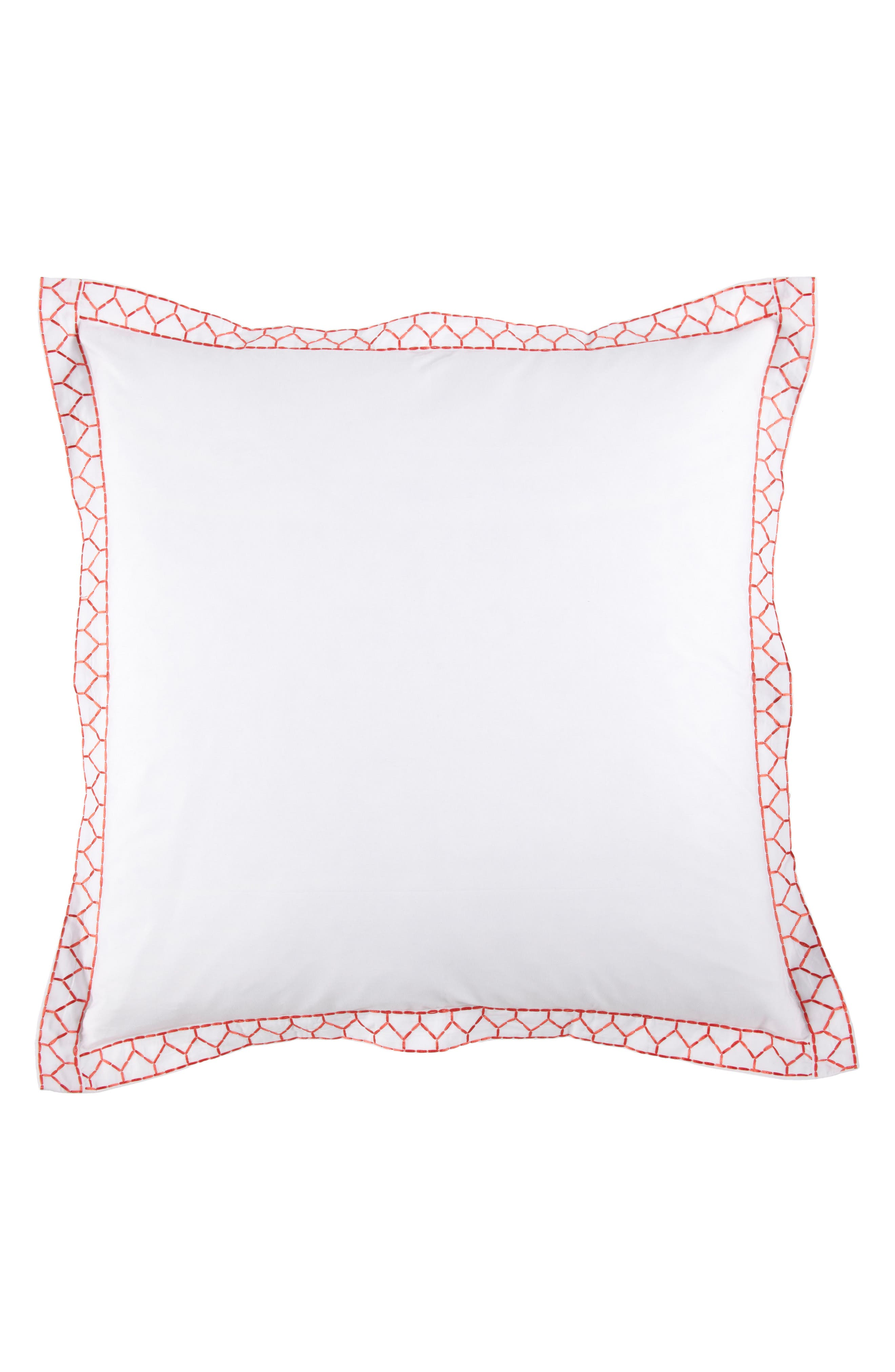 Stitched Border Euro Sham,                             Main thumbnail 1, color,                             Coral/ White