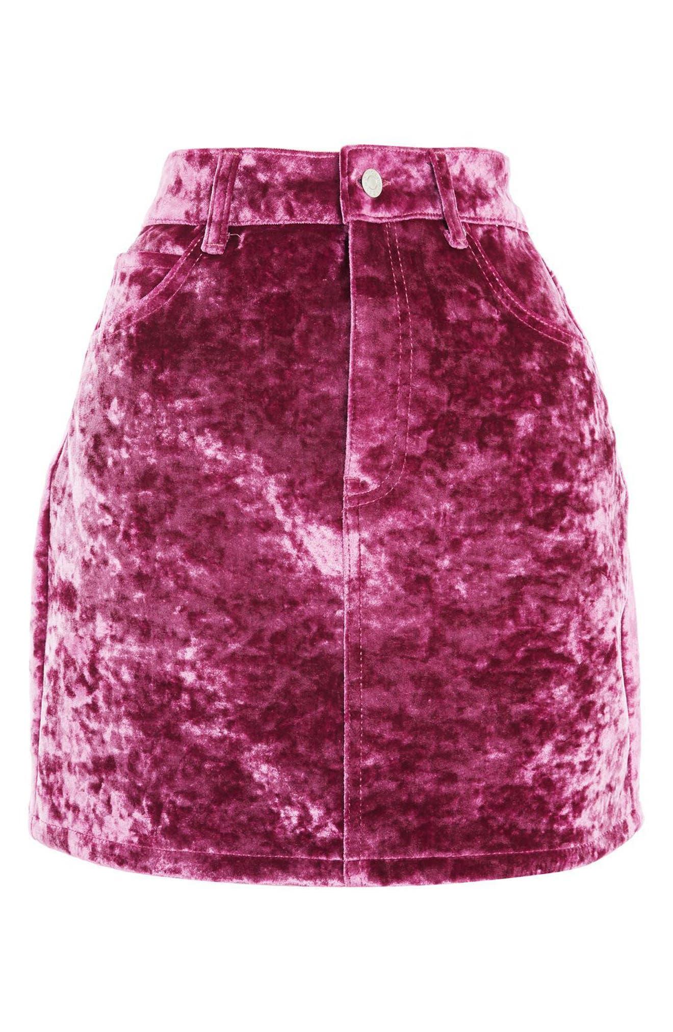 Bonded Velvet Miniskirt,                             Alternate thumbnail 3, color,                             Pink