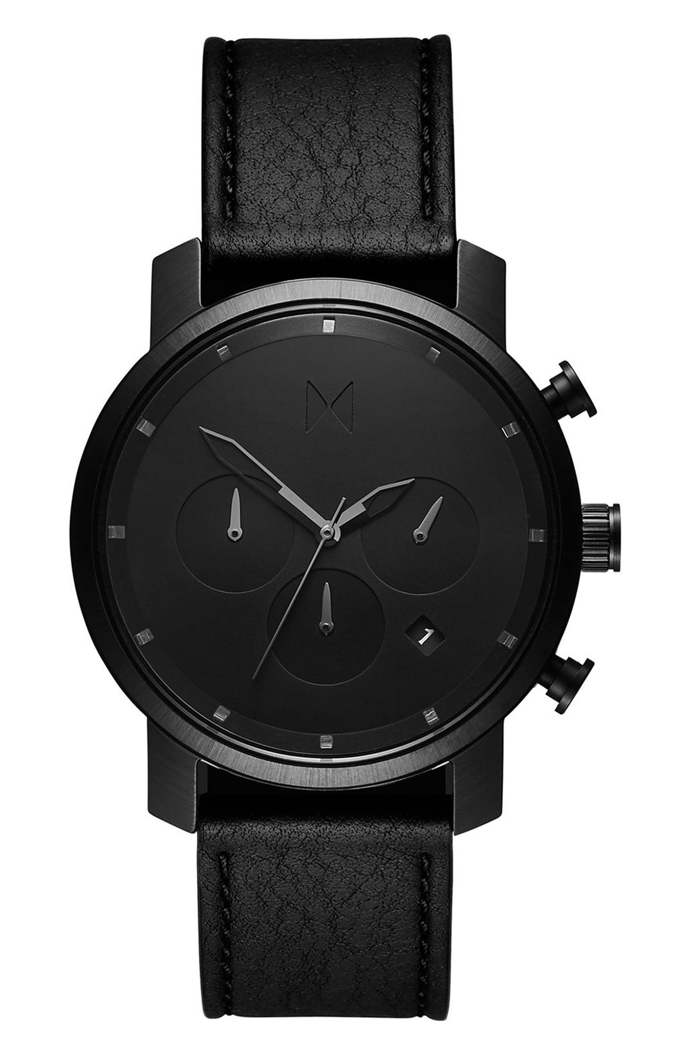Chrono Chronograph Leather Strap Watch, 40mm,                             Main thumbnail 1, color,                             All Black