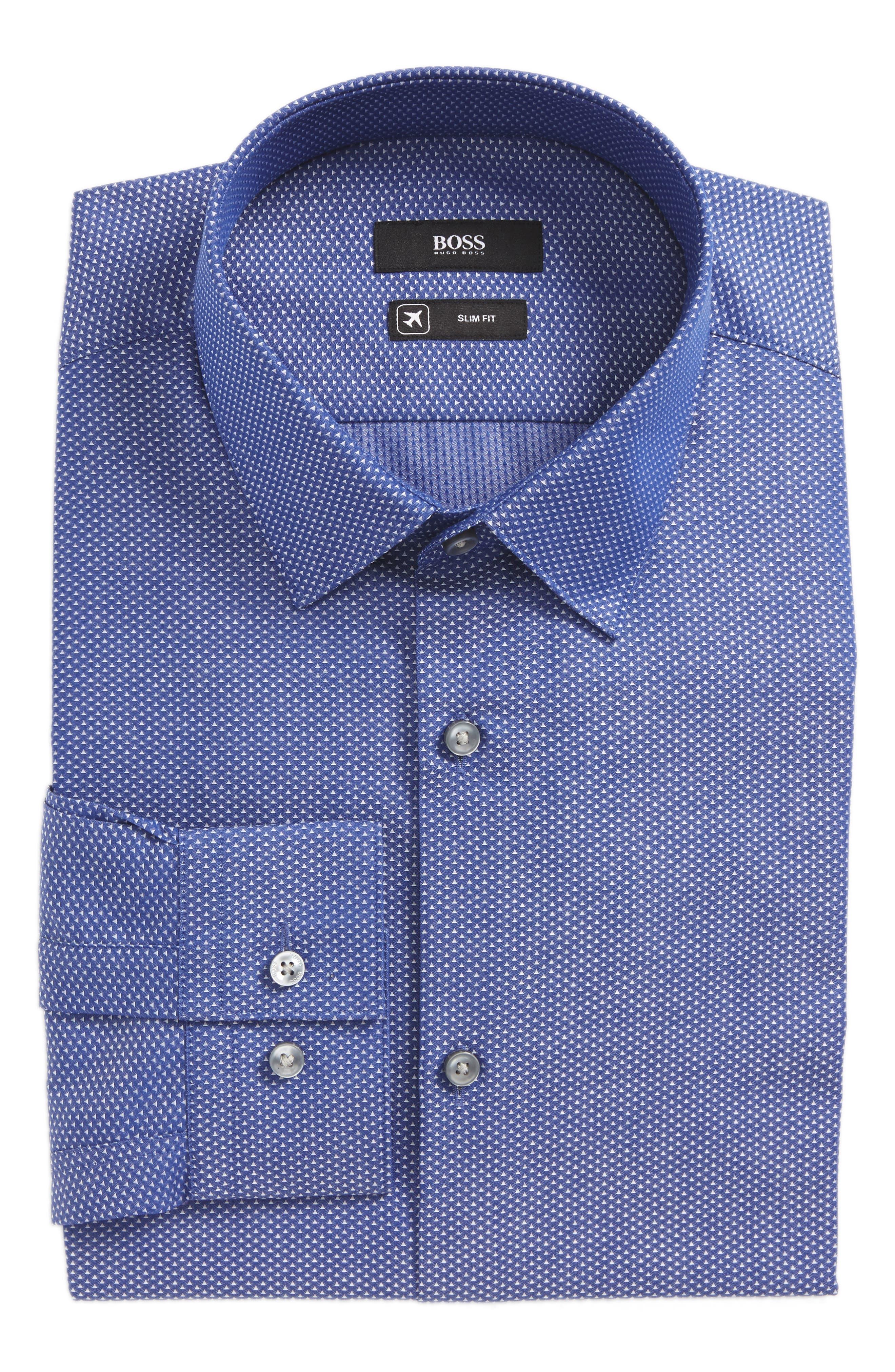 Isko Slim Fit Geometric Dress Shirt,                         Main,                         color, Blue