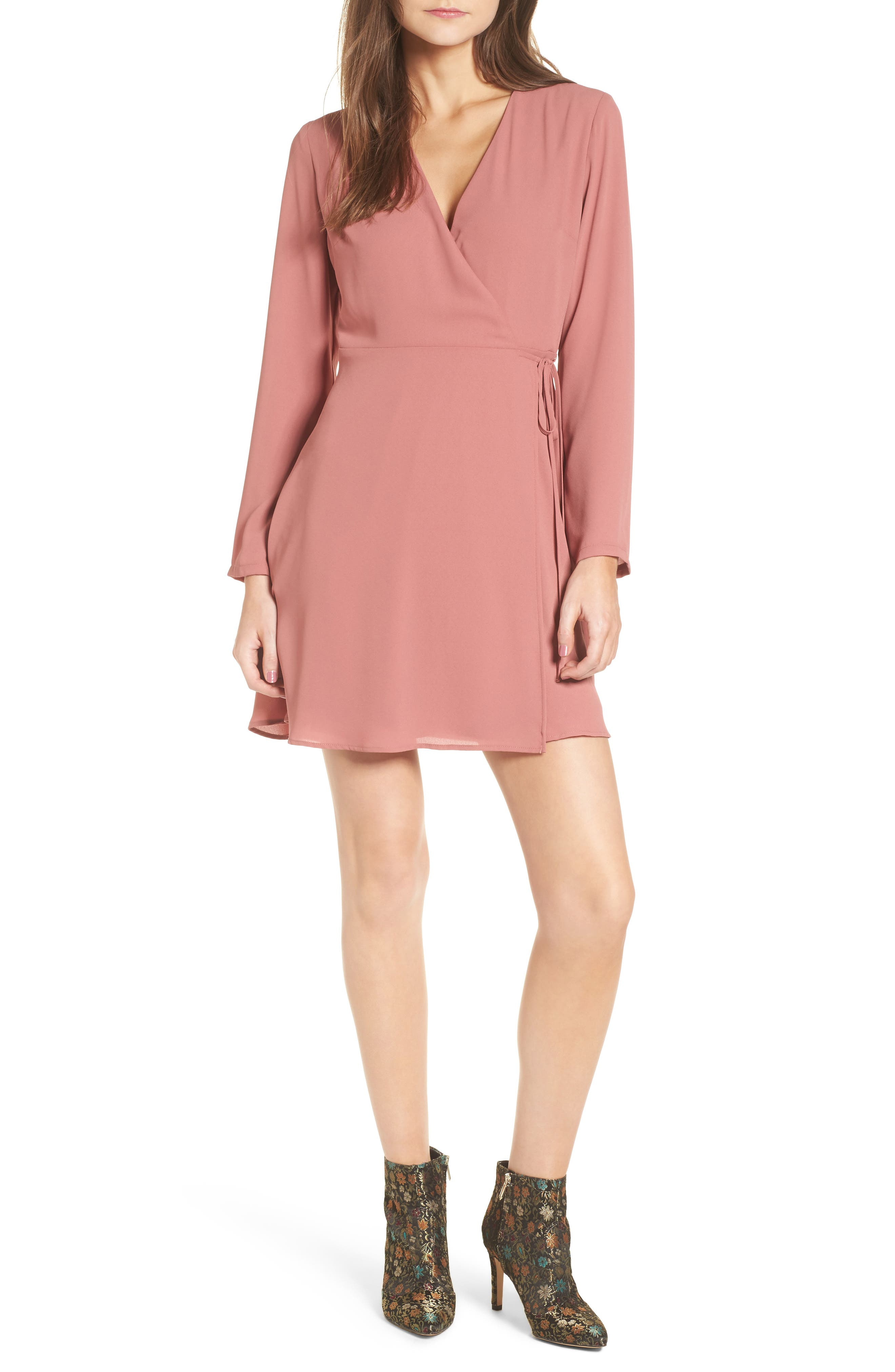 Elly Wrap Dress,                         Main,                         color, Withered Rose