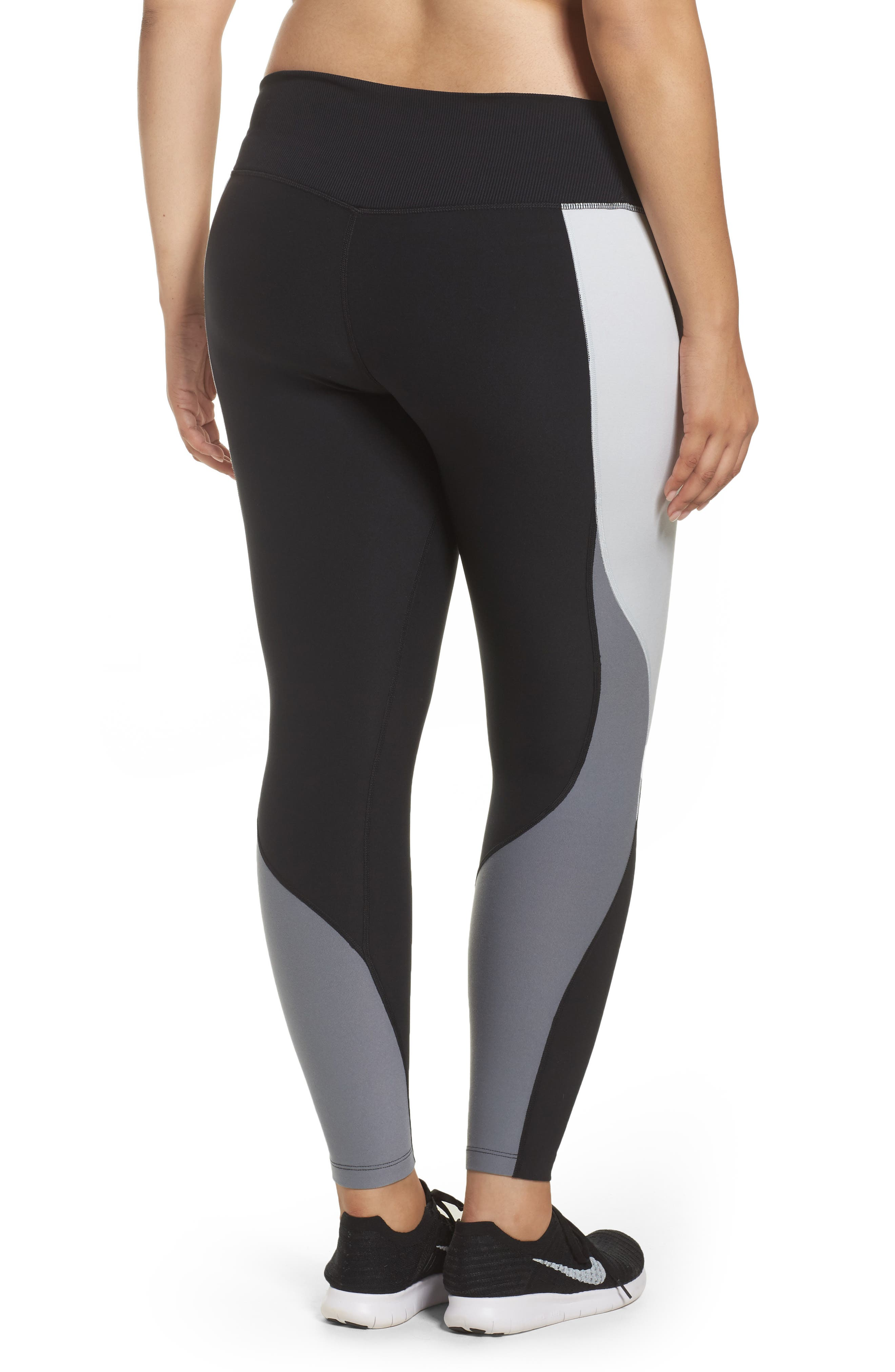 Power Legend Training Tights,                             Alternate thumbnail 2, color,                             Black/ Platinum/ Grey