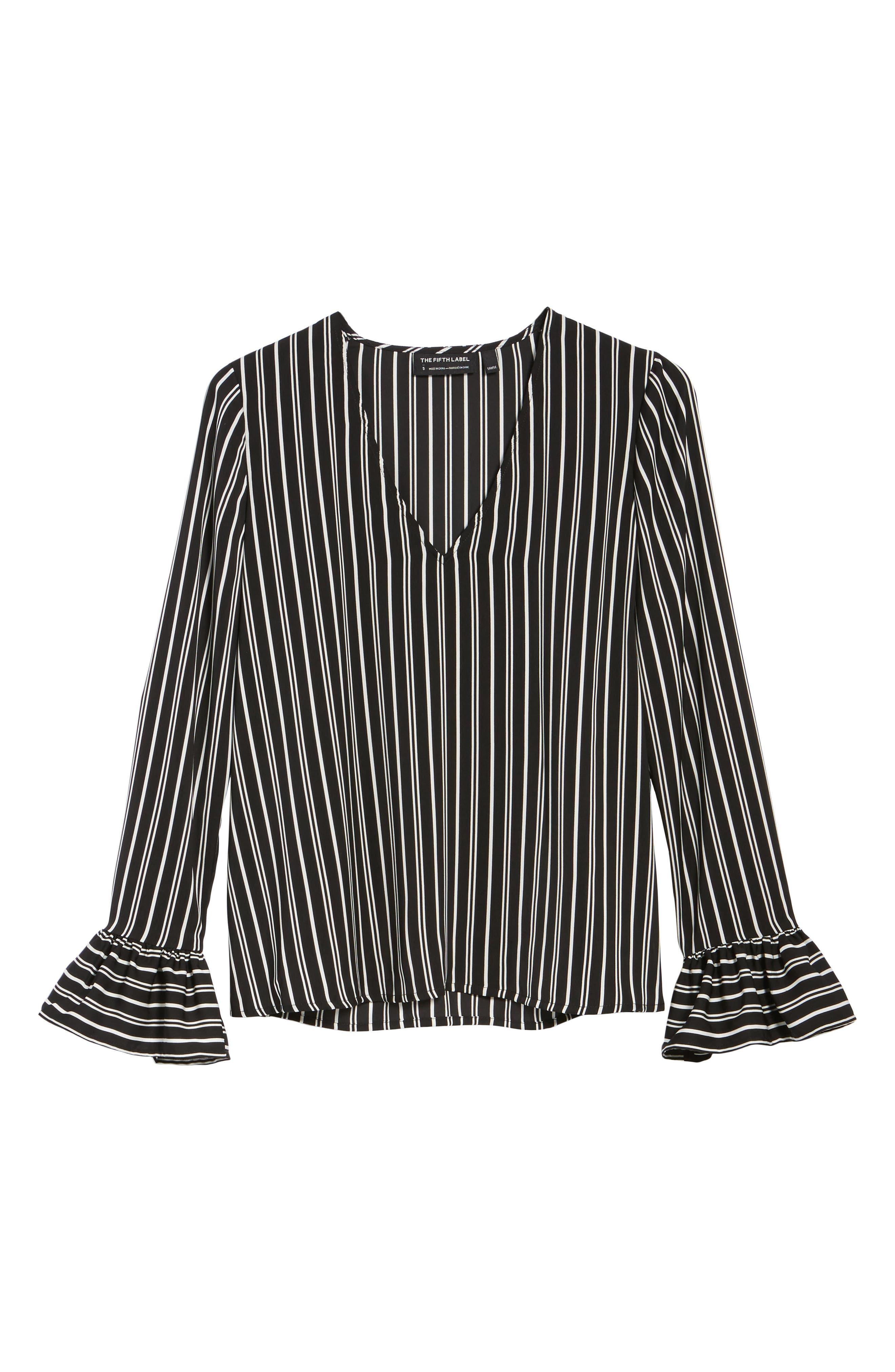 Ophelia Stripe Flare Cuff Top,                             Alternate thumbnail 6, color,                             Black W/ Ivory