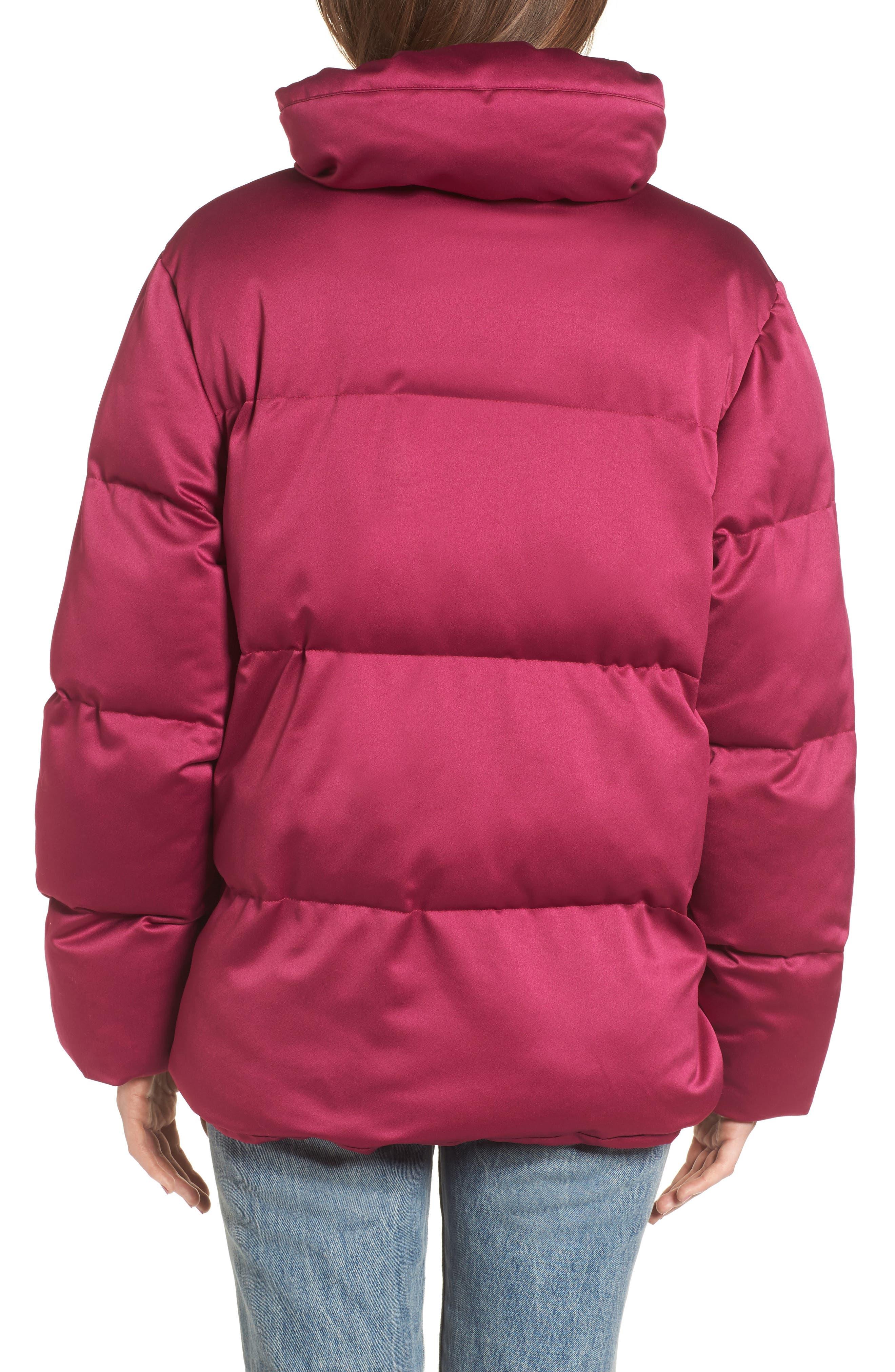Satin Puffer Jacket,                             Alternate thumbnail 2, color,                             Bright Pink