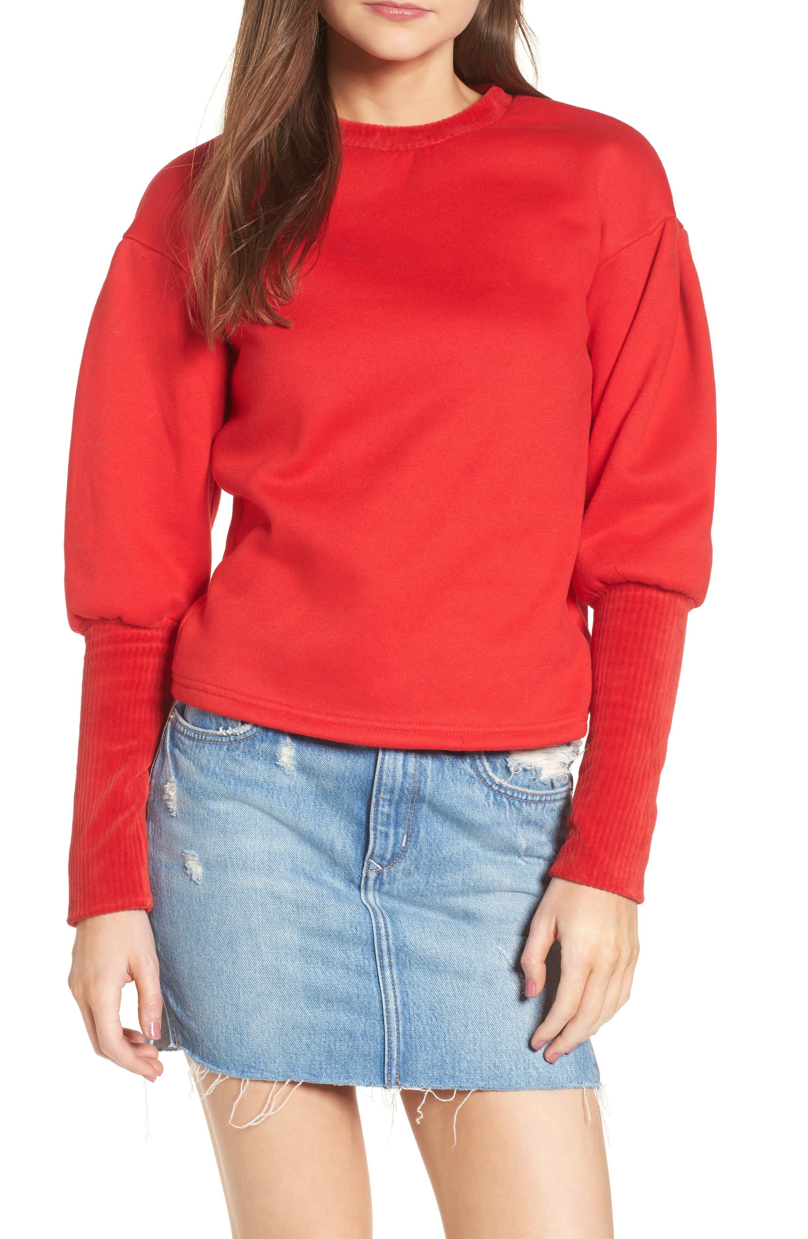 Rib Cuff Sweater,                         Main,                         color, Red