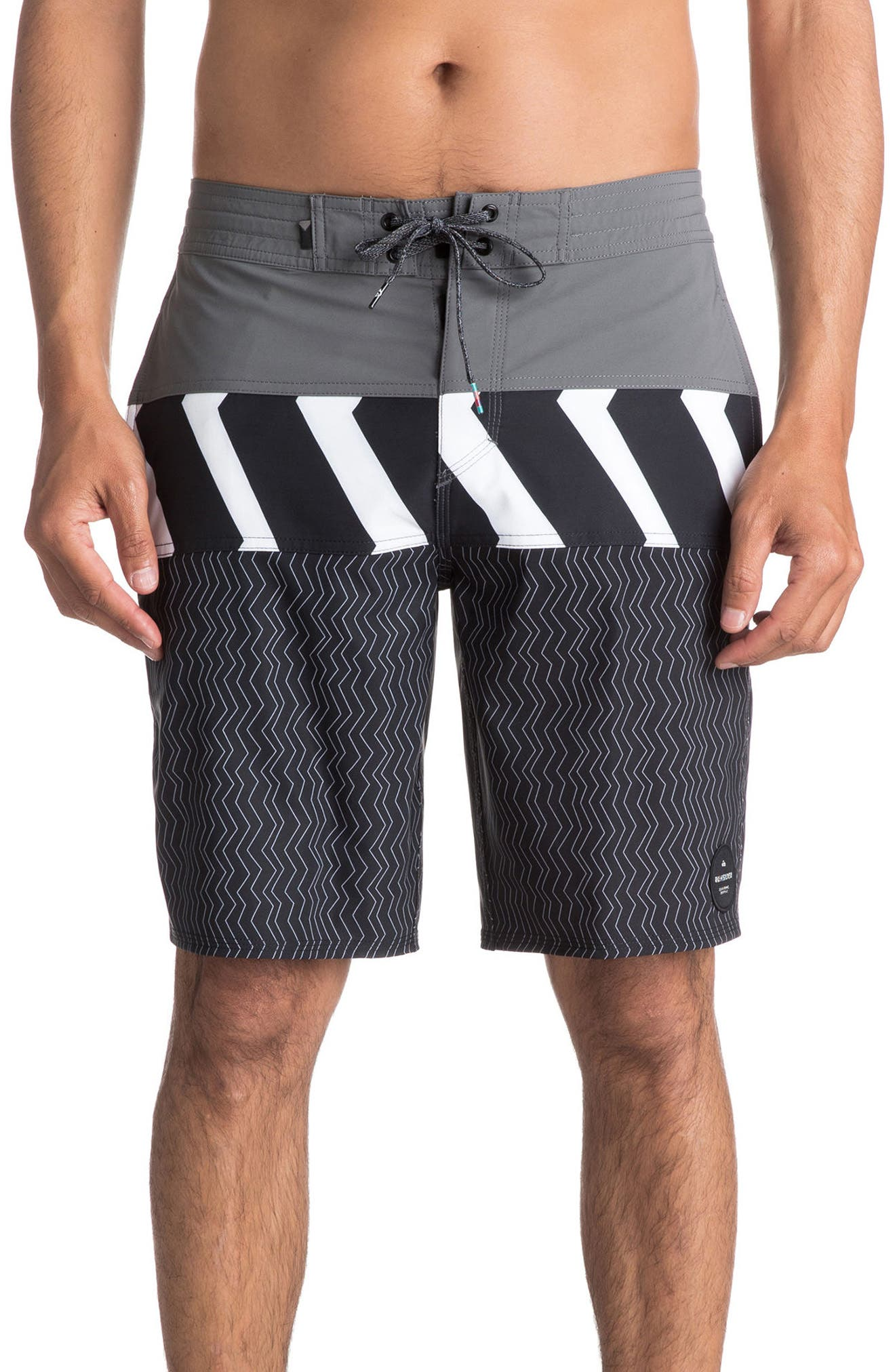 Zigzag Blocked Board Shorts,                         Main,                         color, Iron Gate