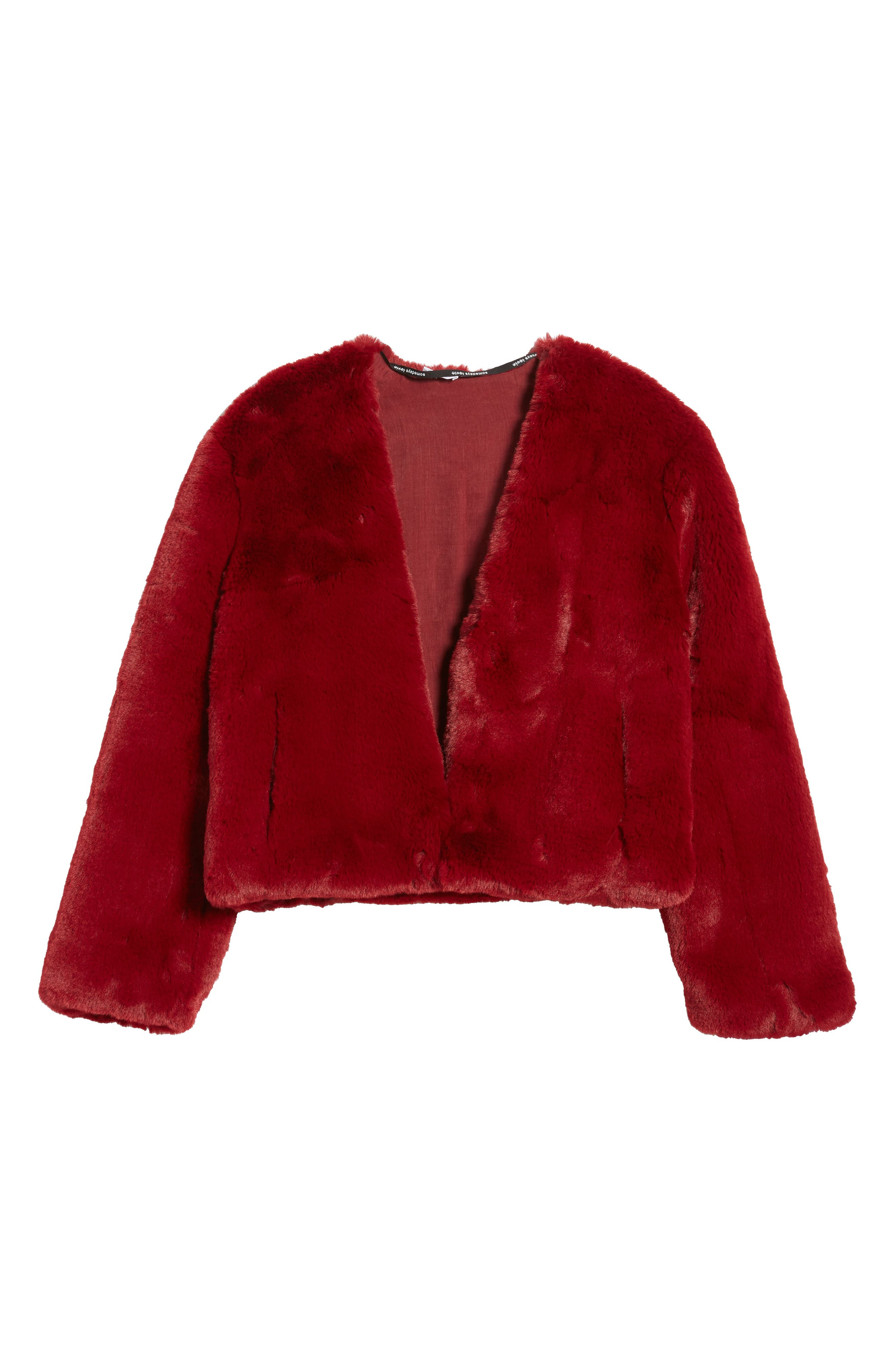 Lonely Hearts Faux Fur Jacket,                             Alternate thumbnail 6, color,                             Ruby